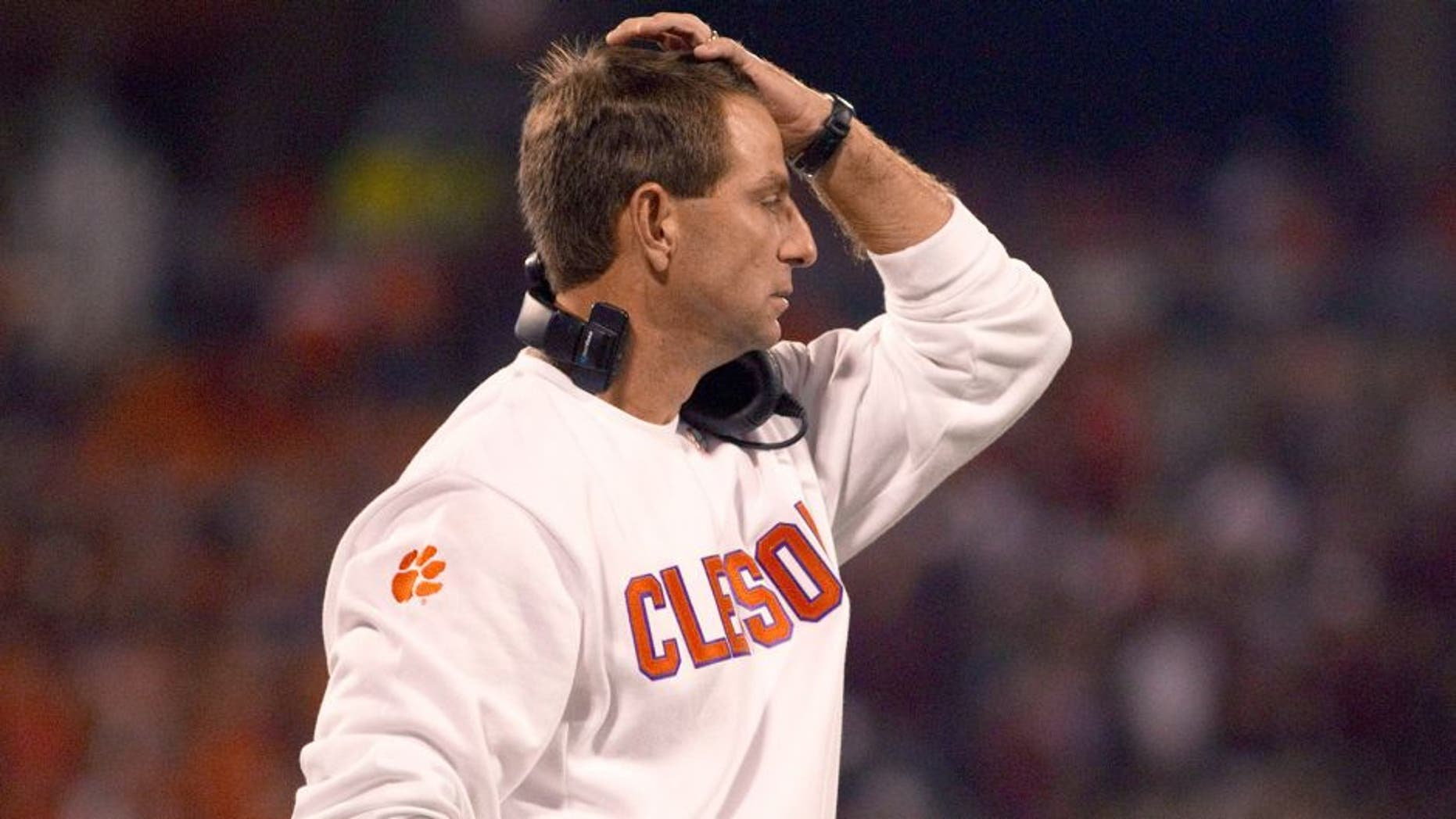 Oct 19, 2013; Clemson, SC, USA; Clemson Tigers head coach Dabo Swinney reacts after the play during the first half against the Florida State Seminoles at Clemson Memorial Stadium. Mandatory Credit: Joshua S. Kelly-USA TODAY Sports