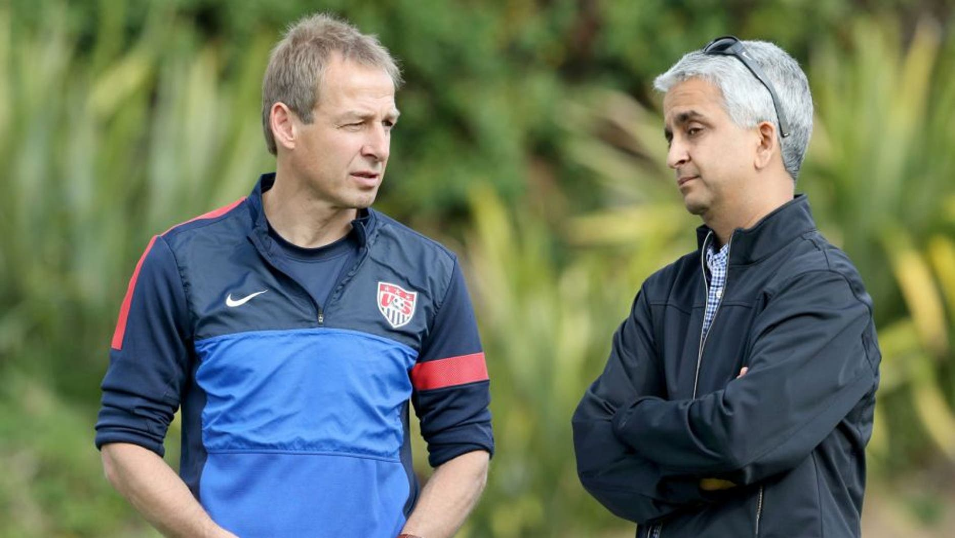 LOS ANGELES, CA - JANUARY 07: Head Coach Juergen Klinsmann of the U.S. Men's National Soccer team (L) and United States Soccer Federation President Sunil Gulati attend training at StubHub Center on January 7, 2014 in Los Angeles, California. (Photo by Victor Decolongon/Getty Images) *** Local Caption *** Juergen Klinsmann; Sunil Gulati