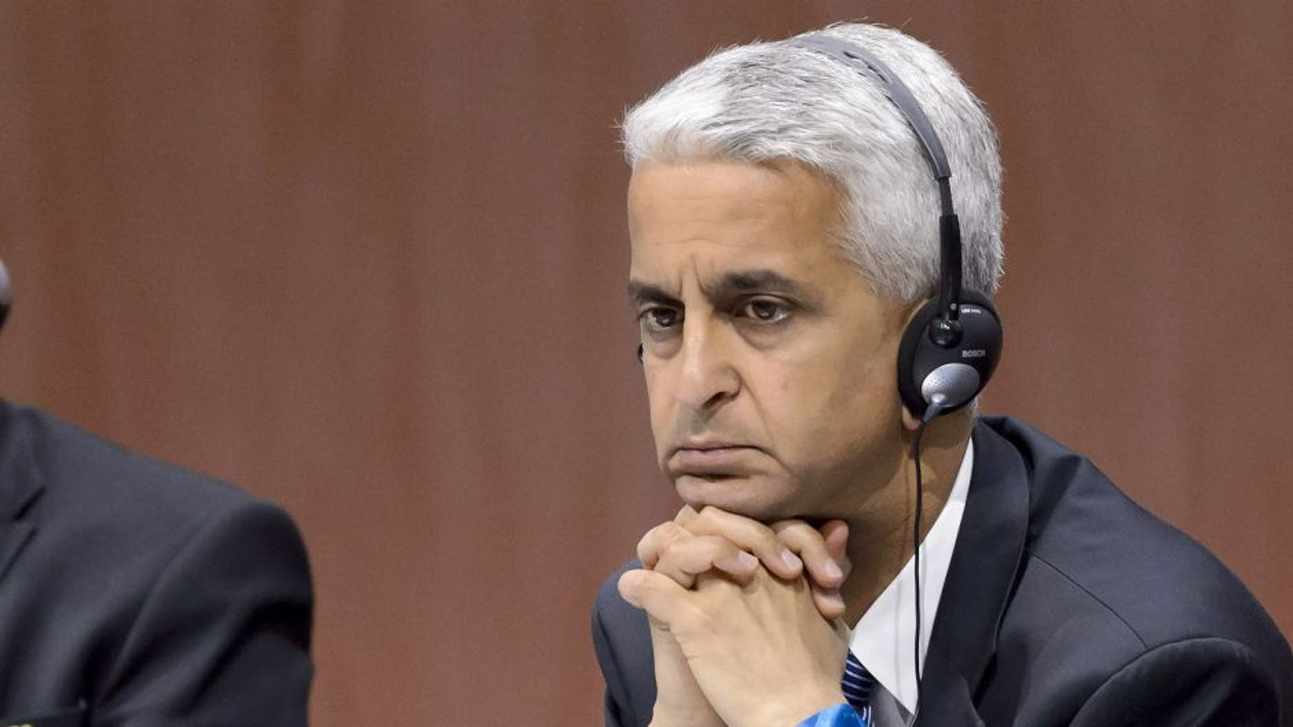 Russian Sport Minister Vitaliy Mutko (L) and US Soccer President Sunil Gulati, both FIFA Executive members, attend the 65th FIFA Congress in Zurich on May 29, 2015 in Zurich. Gulati said he is joining the bid to oust embattled FIFA president Sepp Blatter, in a move that could risk America's chances of hosting another World Cup. AFP PHOTO / FABRICE COFFRINI (Photo credit should read FABRICE COFFRINI/AFP/Getty Images)