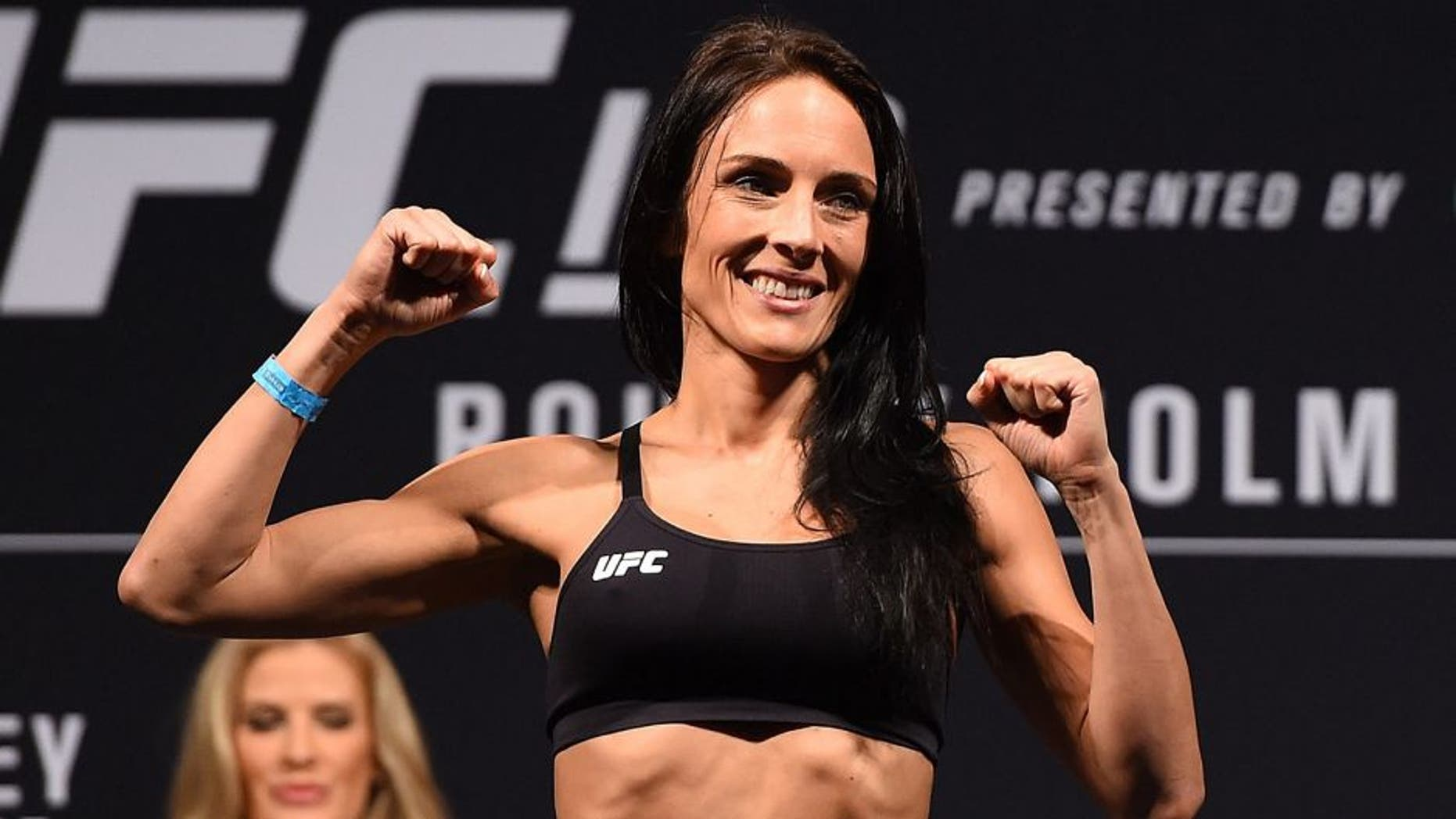 MELBOURNE, AUSTRALIA - NOVEMBER 14: Valerie Letourneau of Canada weighs in during the UFC 193 weigh-in at Etihad Stadium on November 14, 2015 in Melbourne, Australia. (Photo by Josh Hedges/Zuffa LLC/Zuffa LLC via Getty Images)