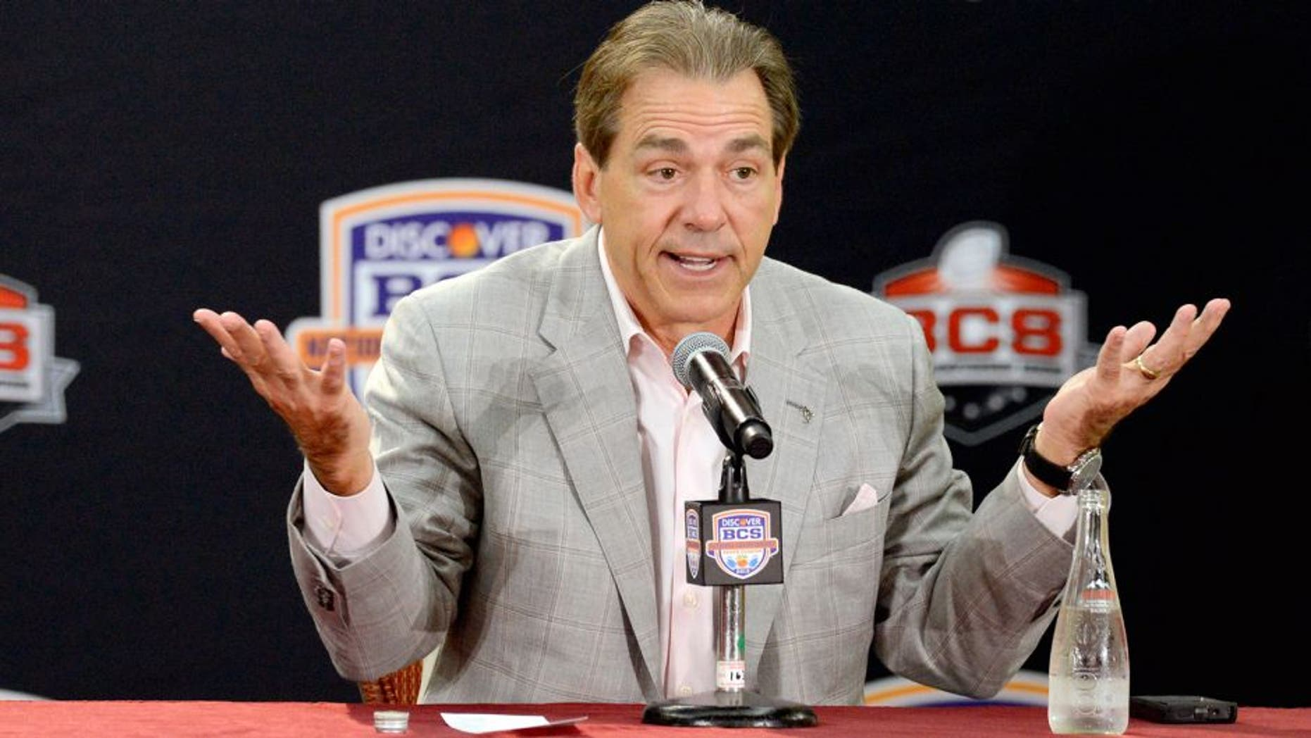 Jan 8, 2013; Fort Lauderdale FL, USA; Alabama Crimson Tide head coach Nick Saban addresses the media during the winning coach press conference at Harbor Beach Marriott Resort & Spa following Alabama's 42-14 win over Notre Dame last night in the 2013 BCS National Championship game. Mandatory Credit: John David Mercer-USA TODAY Sports