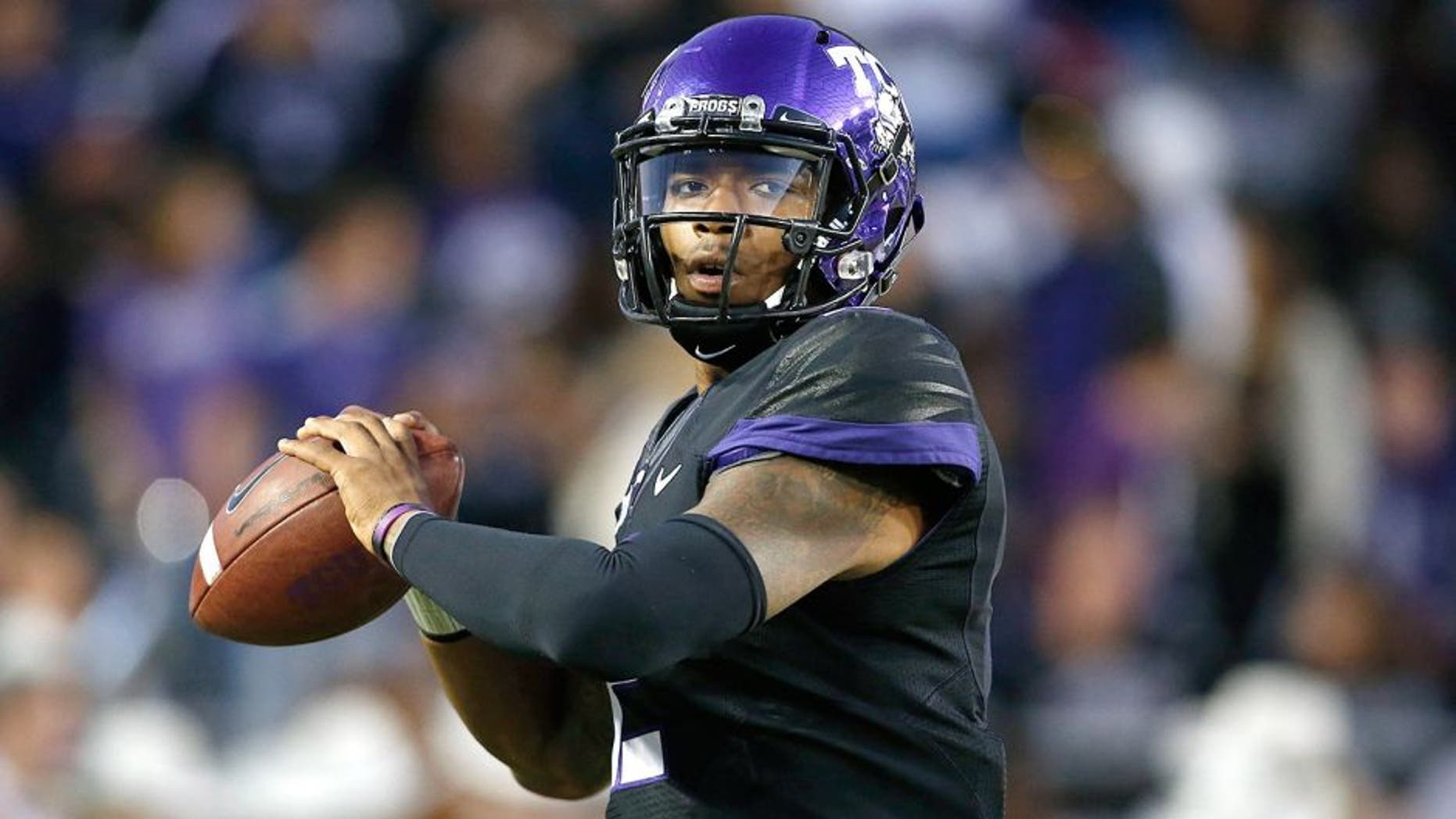 Nov 8, 2014; Fort Worth, TX, USA; TCU Horned Frogs quarterback Trevone Boykin (2) warms up before the game against the Kansas State Wildcats at Amon G. Carter Stadium. Mandatory Credit: Tim Heitman-USA TODAY Sports