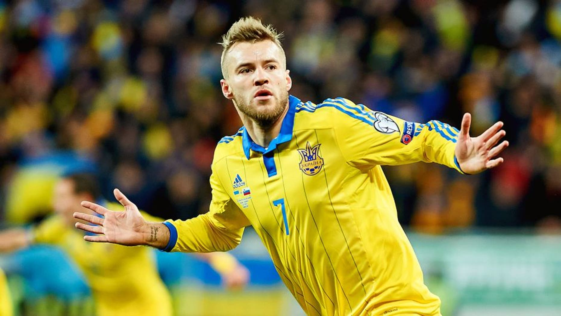 UKRAINE, LVIV - NOVEMBER 14: Andriy Yarmolenko from Ukraine celebrates after scoring the first goal during the UEFA EURO 2016 Play-off for Final Tournament, First leg between Ukraine and Slovenia at Lviv Arena on November 14, 2015 in Lviv, Ukraine. (Photo by Adam Nurkiewicz/Getty Images)