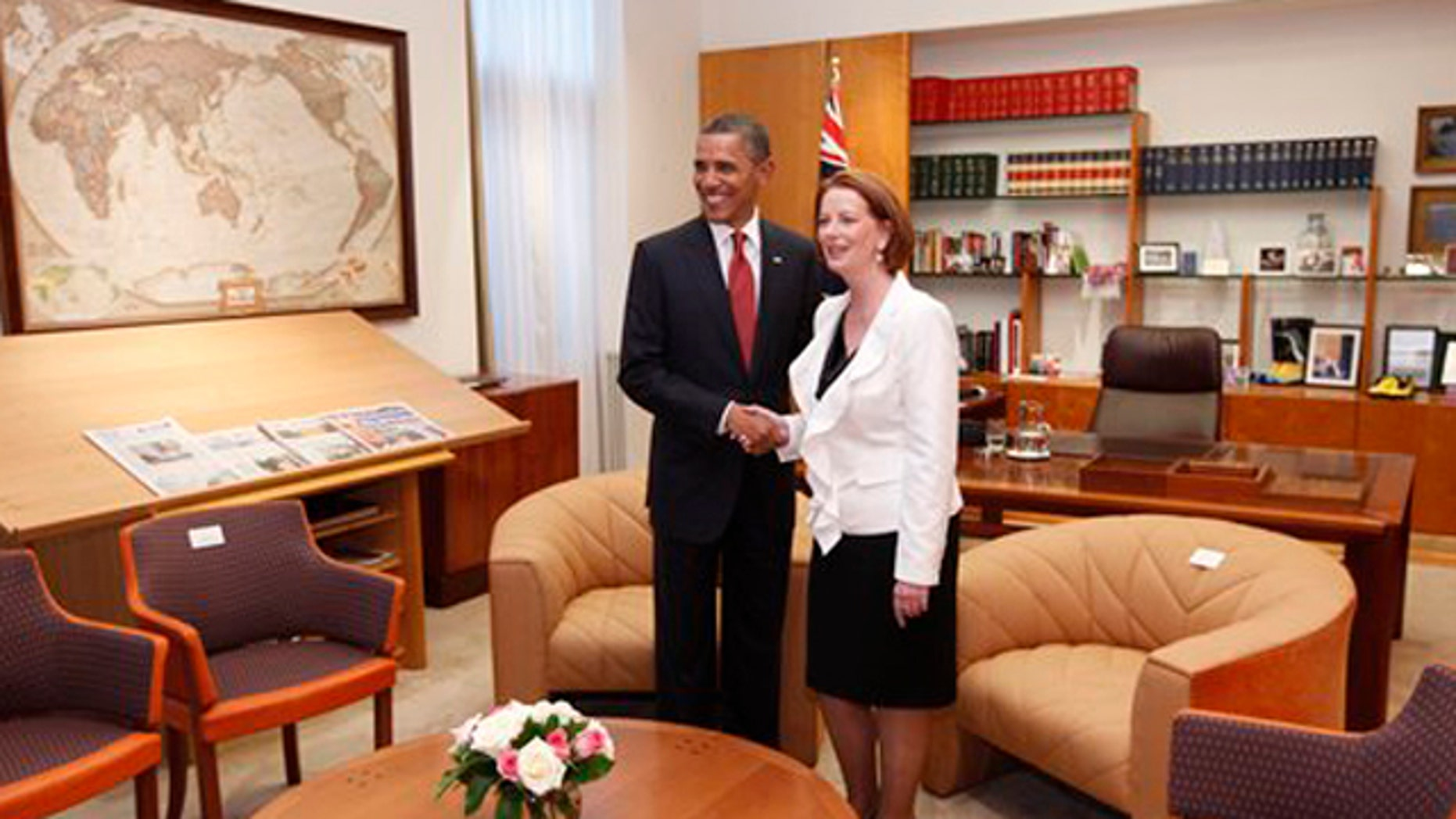 November 16, 2011: U.S. President Barack Obama and Australian Prime Minister Julia Gillard meet in her office at Parliament House in Canberra, Australia.