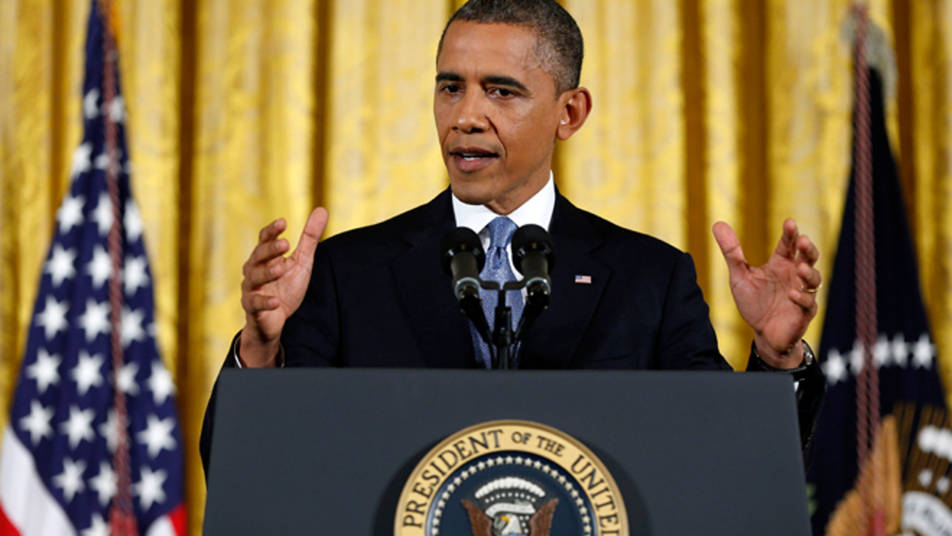Nov. 14, 2012: President Barack Obama answers a question during a news conference in the East Room of the White House.