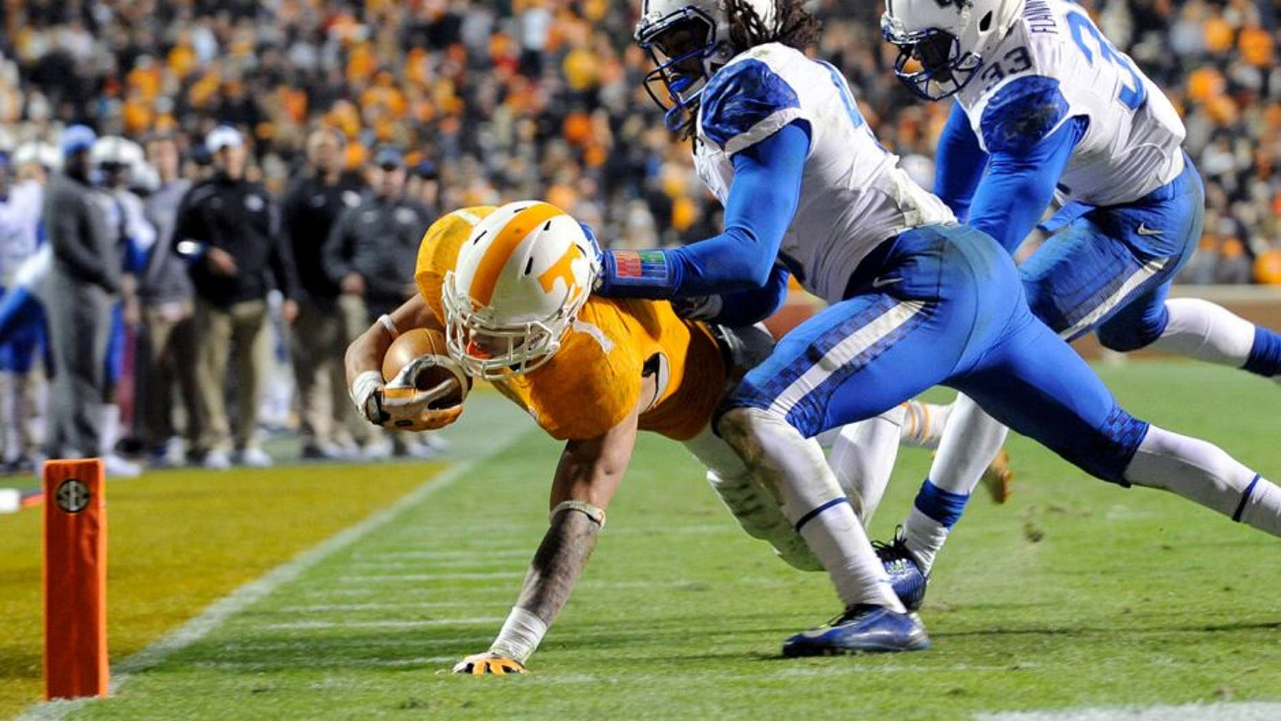 Nov 15, 2014; Knoxville, TN, USA; Tennessee Volunteers running back Jalen Hurd (1) dives for a touchdown against the Kentucky Wildcats during the third quarter at Neyland Stadium. Mandatory Credit: Randy Sartin-USA TODAY Sports