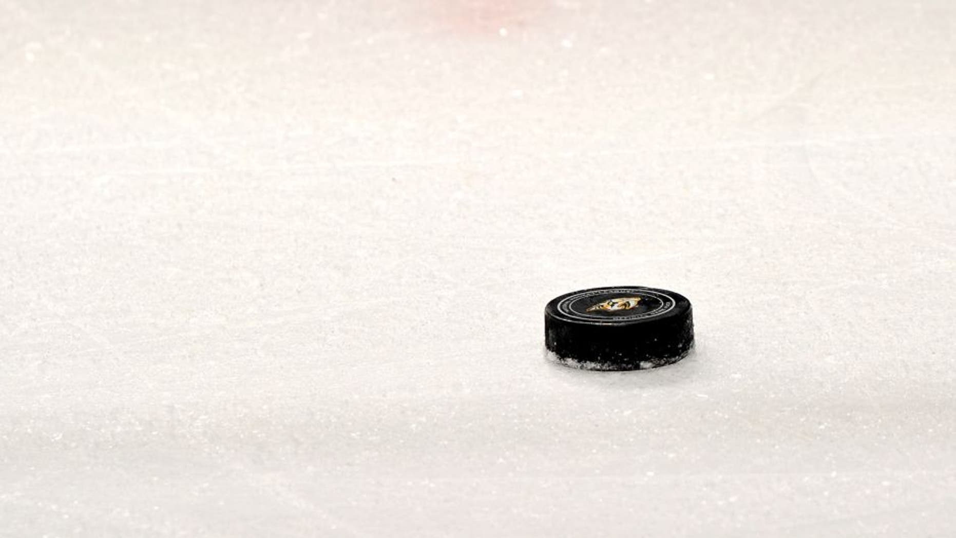 NASHVILLE, TN - MARCH 01: A Nashville Predators game puck rests on the ice during a game against the Winnipeg Jets at Bridgestone Arena on March 1, 2014 in Nashville, Tennessee. (Photo by Frederick Breedon/Getty Images)