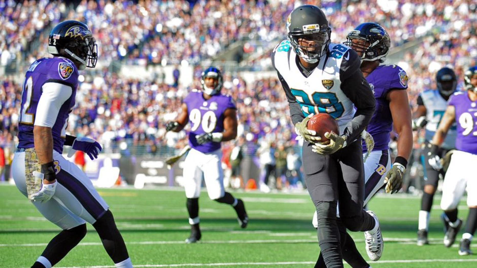 Nov 15, 2015; Baltimore, MD, USA; Jacksonville Jaguars wide receiver Allen Hurns (88) scores a touchdown in the first quarter against the Baltimore Ravens at M&T Bank Stadium. Mandatory Credit: Evan Habeeb-USA TODAY Sports