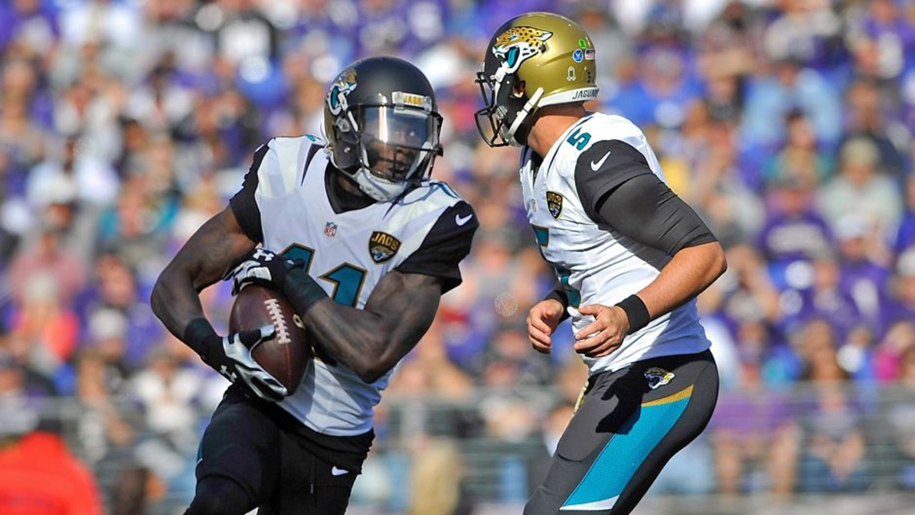 BALTIMORE, MD - NOVEMBER 15: Wide receiver Marqise Lee #11 of the Jacksonville Jaguars runs the ball against the Baltimore Ravens at M&T Bank Stadium on November 15, 2015 in Baltimore, Maryland. The Jaguars defeated the Ravens 22-20. (Photo by Larry French/Getty Images)