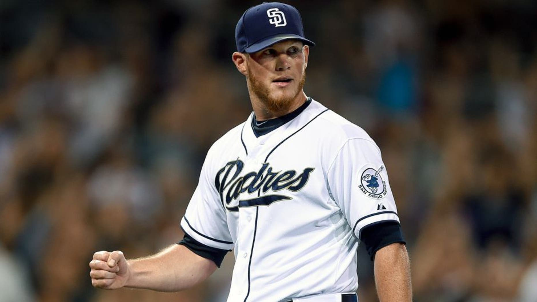SAN DIEGO, CA - JULY 24: Craig Kimbrel #46 of the San Diego Padres celebrates after the final out during the game against the Miami Marlins at Petco Park on July 24, 2015 in San Diego, California. (Photo by Andy Hayt/San Diego Padres/Getty Images)