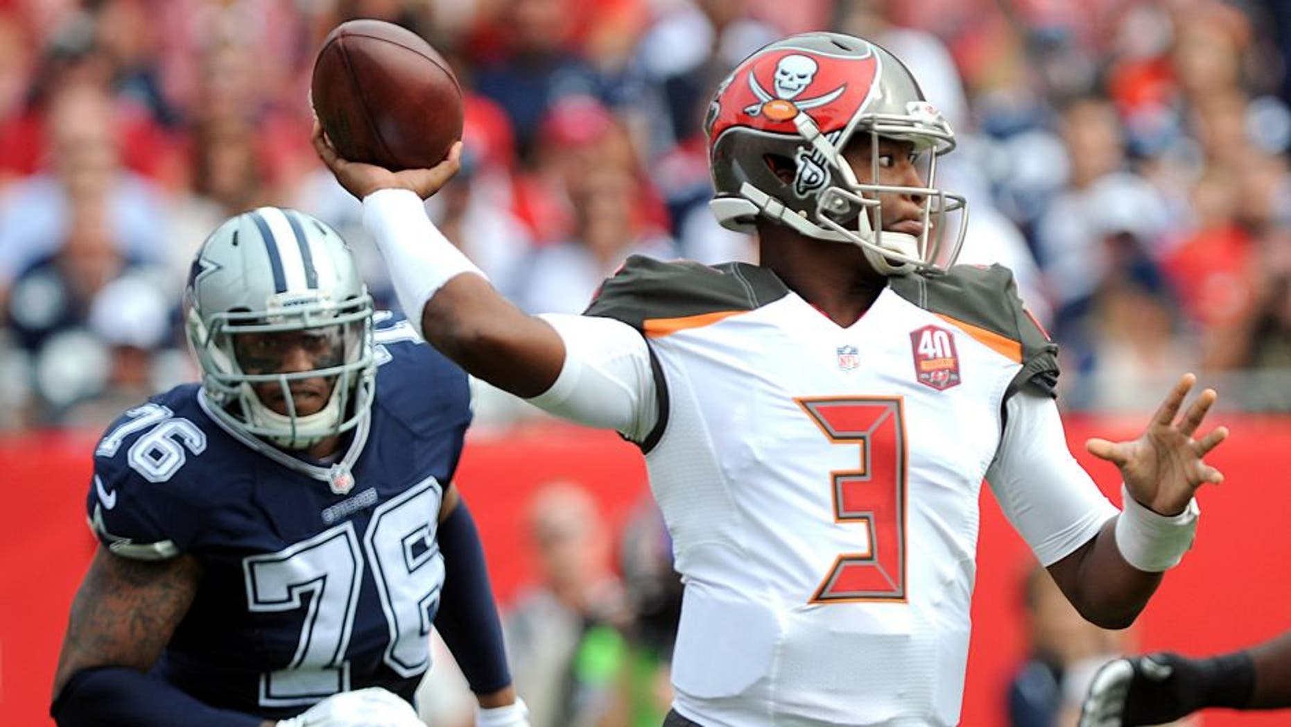 TAMPA, FL - NOVEMBER 15: Quarterback Jameis Winston #3 of the Tampa Bay Buccaneers passes against the Dallas Cowboys at Raymond James Stadium on November 15, 2015 in Tampa, Florida. (Photo by Cliff McBride/Getty Images)