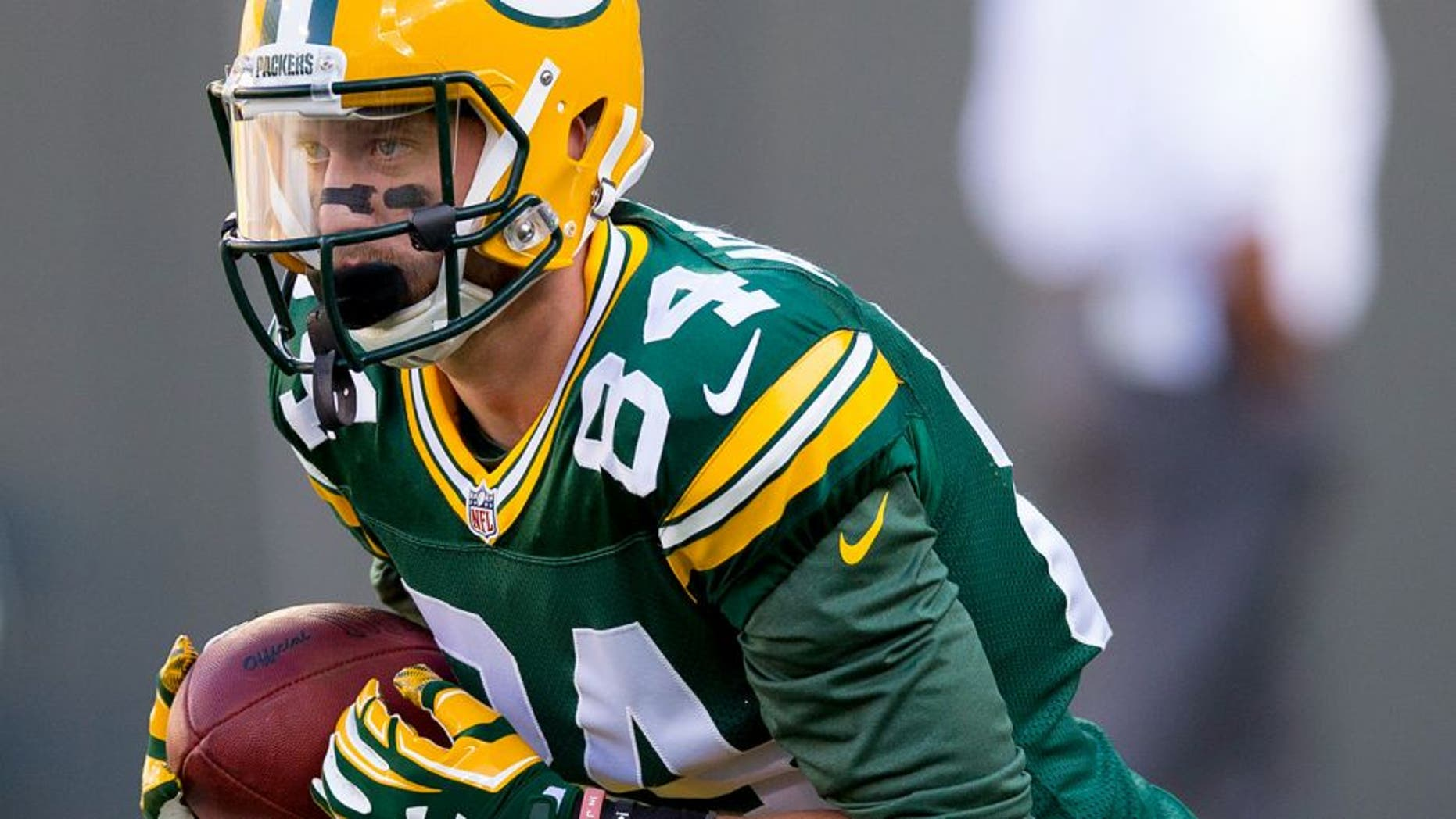 Sep 3, 2015; Green Bay, WI, USA; Green Bay Packers wide receiver Jared Abbrederis (84) during warmups prior to the game against the New Orleans Saints at Lambeau Field. Green Bay won 38-10. Mandatory Credit: Jeff Hanisch-USA TODAY Sports