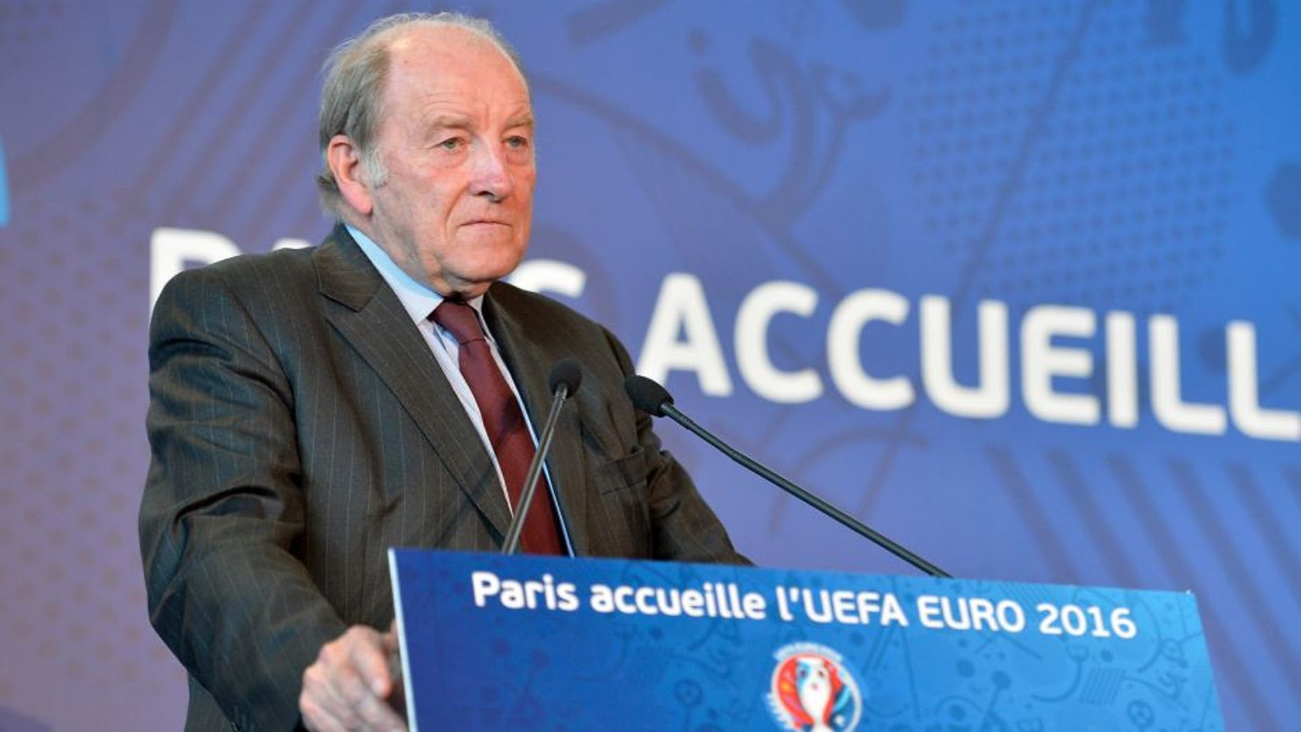 PARIS, FRANCE - JUNE 16: Jacques Lambert President of the organisation of Euro 2016 gives a press conference on Euro 2016 on June 16, 2015 in Paris, France. He gave details about the organisation of the competition itself and explained the differents animations around Paris during the competition. (Photo by Aurelien Meunier/Getty Images)