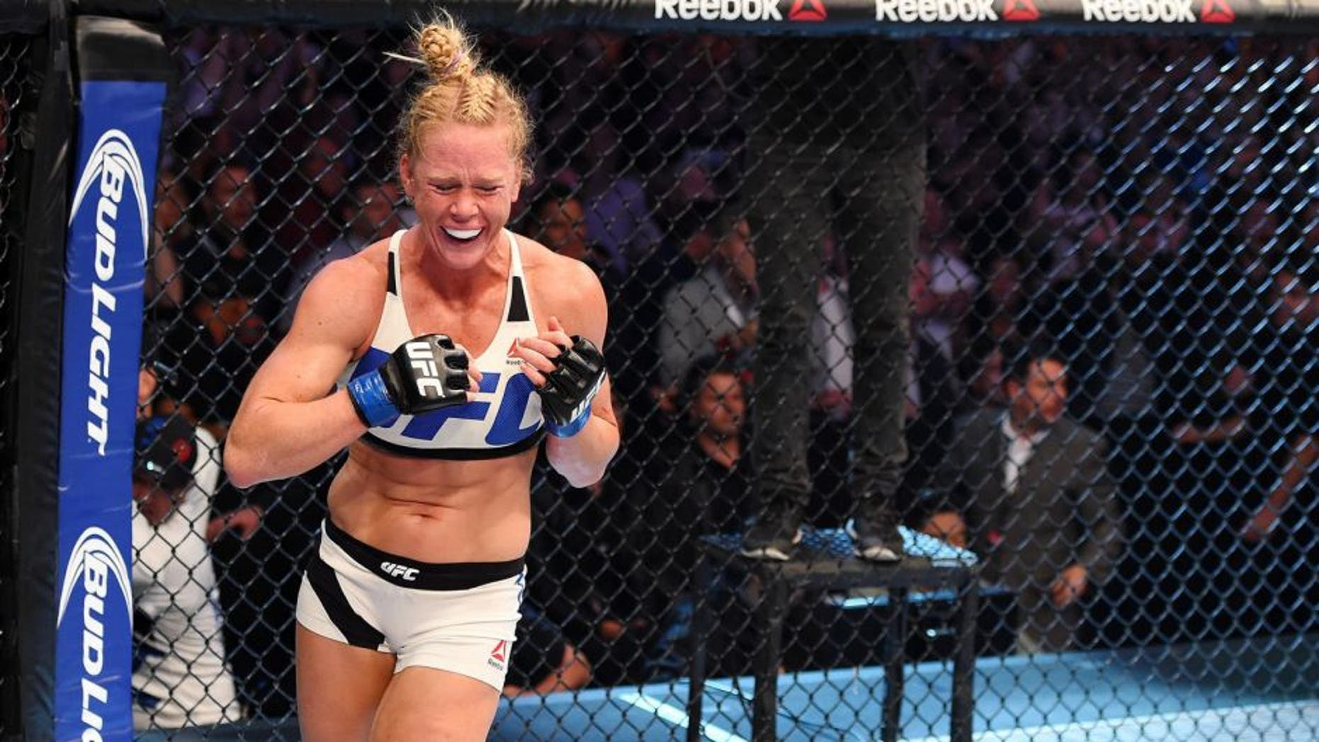 MELBOURNE, AUSTRALIA - NOVEMBER 15: Holly Holm celebrates her second round KO (head kick and punches) over Ronda Rousey (not pictured) in their UFC women's bantamweight championship bout during the UFC 193 event at Etihad Stadium on November 15, 2015 in Melbourne, Australia. (Photo by Josh Hedges/Zuffa LLC/Zuffa LLC via Getty Images)