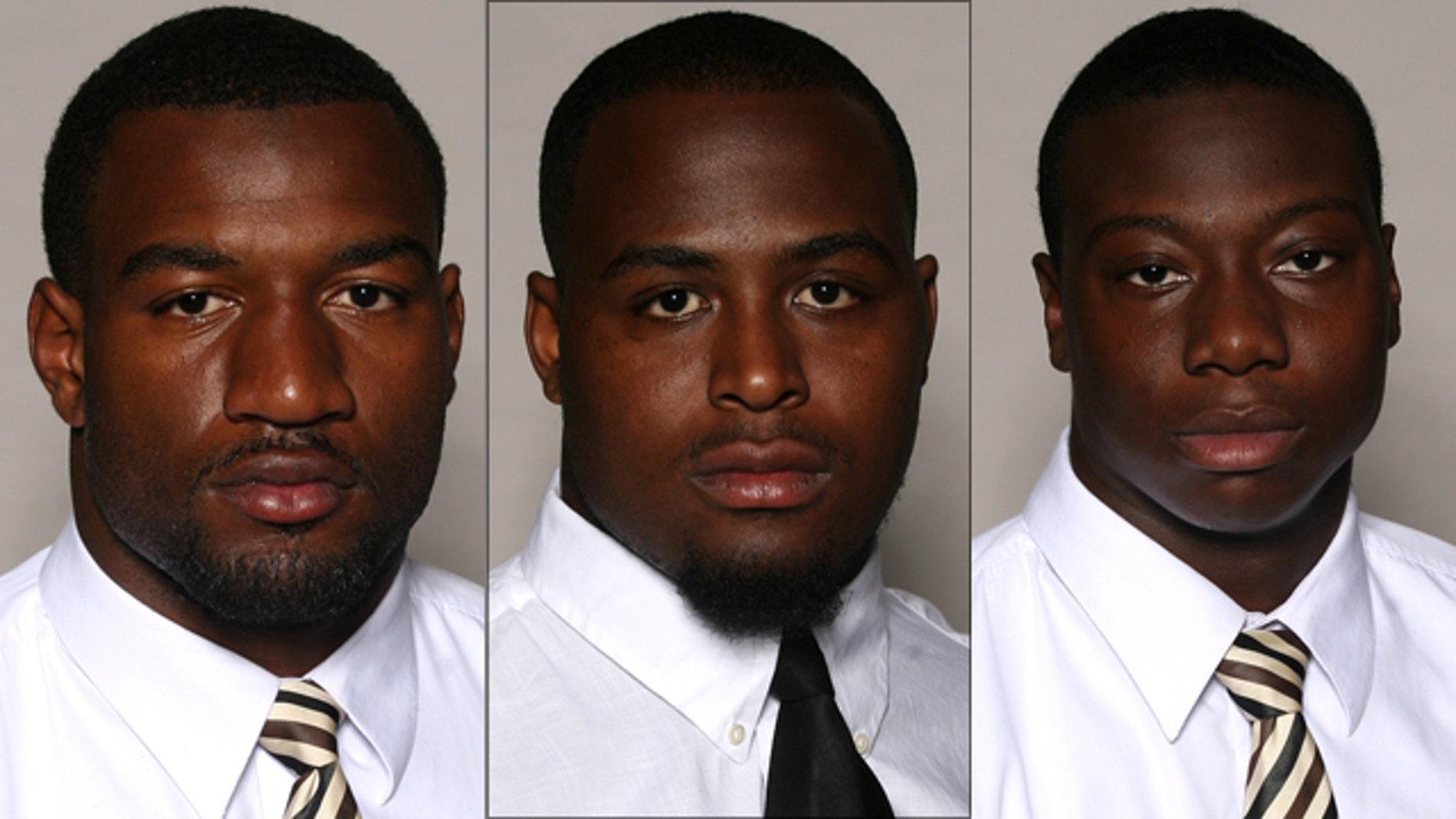 Martez Smith, left, Deddrick Jones, center, and Tim Green were shot during a fight at a Mississippi nightclub.