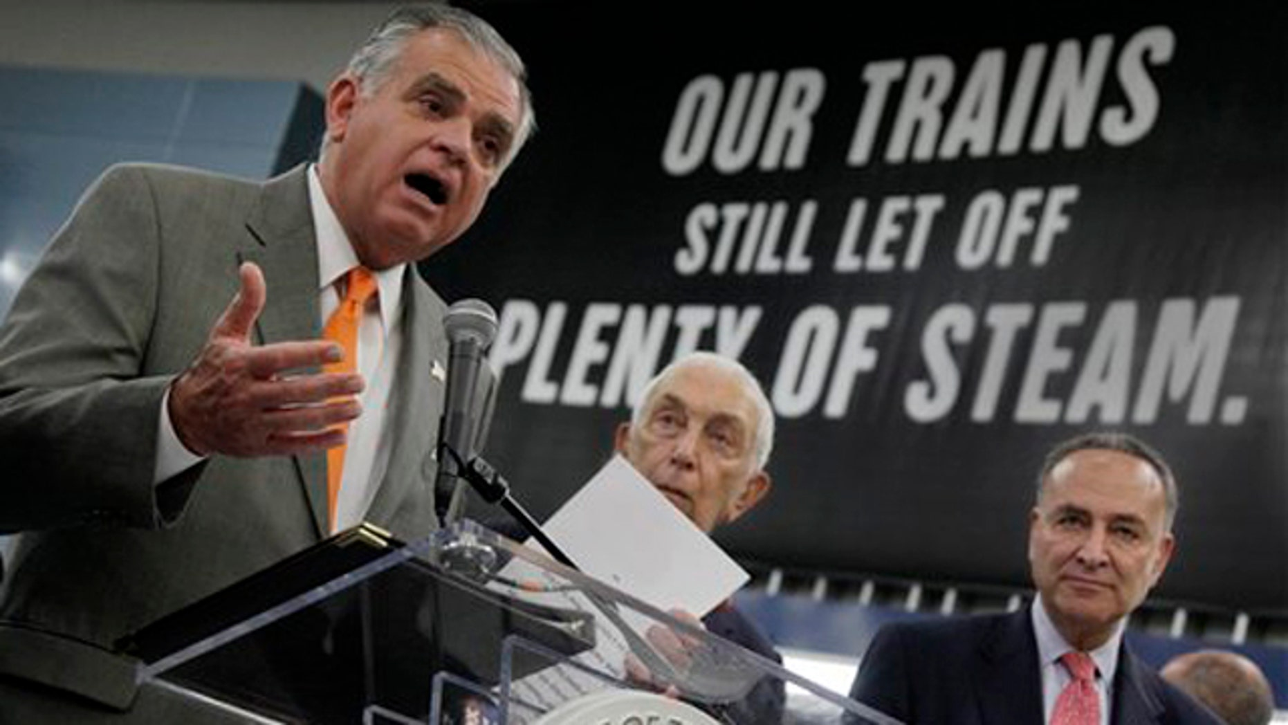 FILE -Transportation Secretary Ray LaHood, left, is joined by Sen. Frank Lautenberg, D-N.J., center, and Sen. Charles Schumer, D-N.Y., at an announcement in New York's Pennsylvania Station about rail funding.