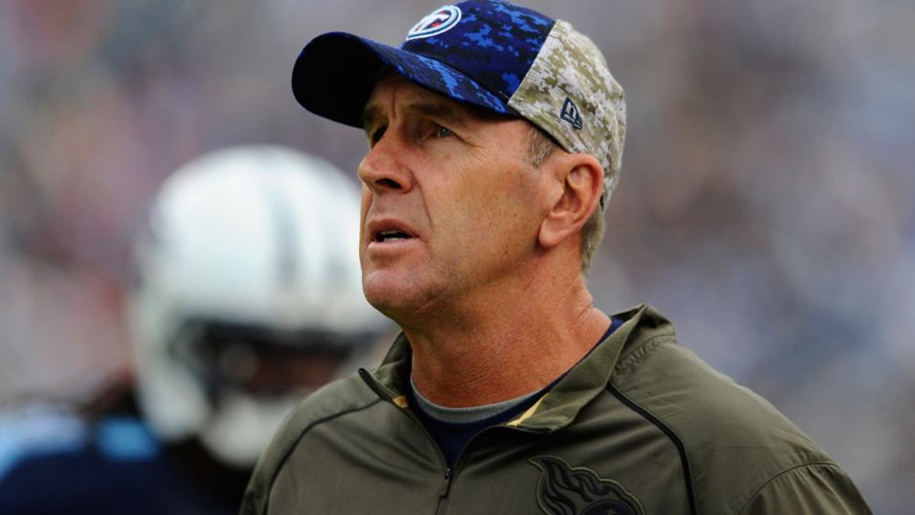 Nov 15, 2015; Nashville, TN, USA; Tennessee Titans interim head coach Mike Mularkey during the second half against the Carolina Panthers at Nissan Stadium. The Panthers won 27-10. Mandatory Credit: Christopher Hanewinckel-USA TODAY Sports