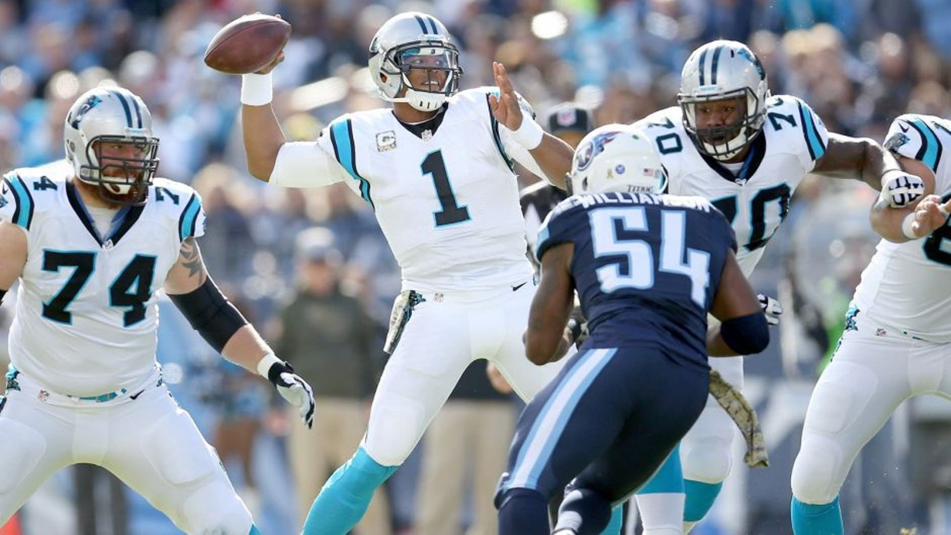 NASHVILLE, TN - NOVEMBER 15: Cam Newton #1 of the Carolina Panthers throws a pass during the first quarter against the Tennessee Titans at LP Field on November 15, 2015 in Nashville, Tennessee. (Photo by Andy Lyons/Getty Images)