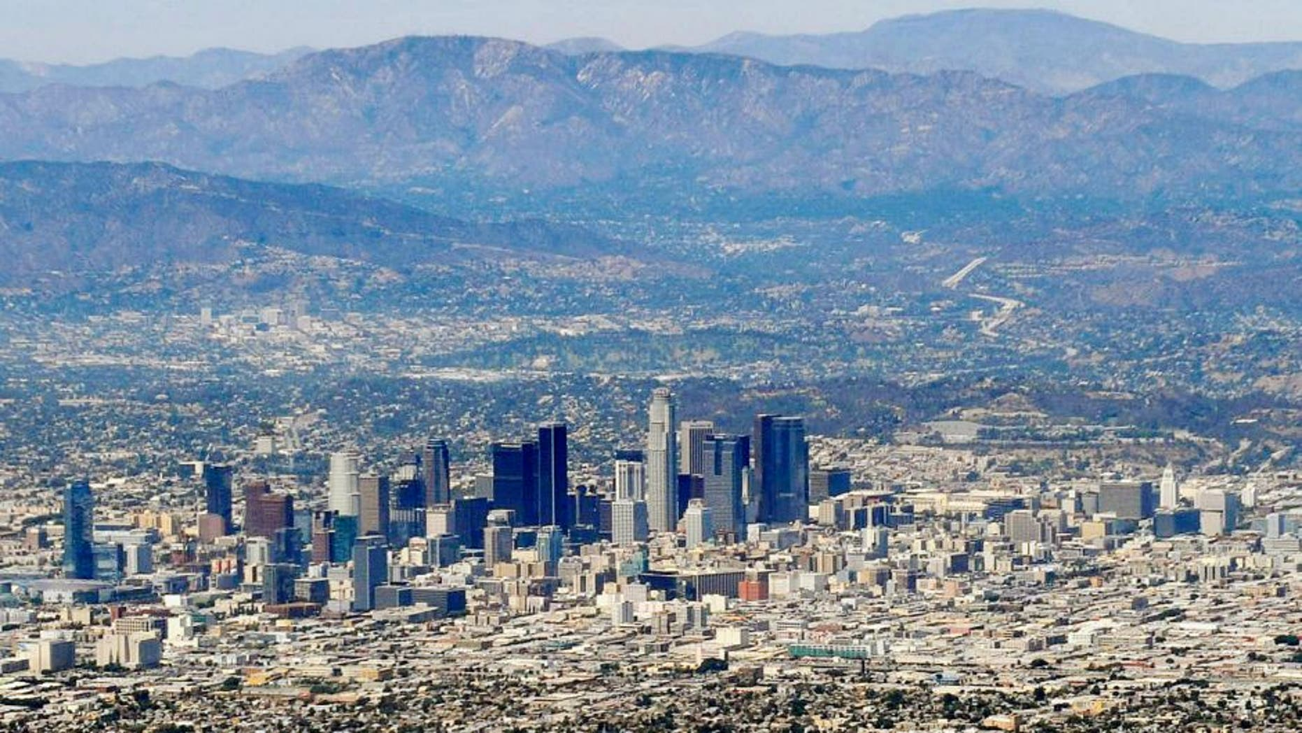 August 15, 2015; Los Angeles, CA, USA; General view of downtown Los Angeles before the Cincinnati Reds play against the Los Angeles Dodgers at Dodger Stadium. Mandatory Credit: Gary A. Vasquez-USA TODAY Sports