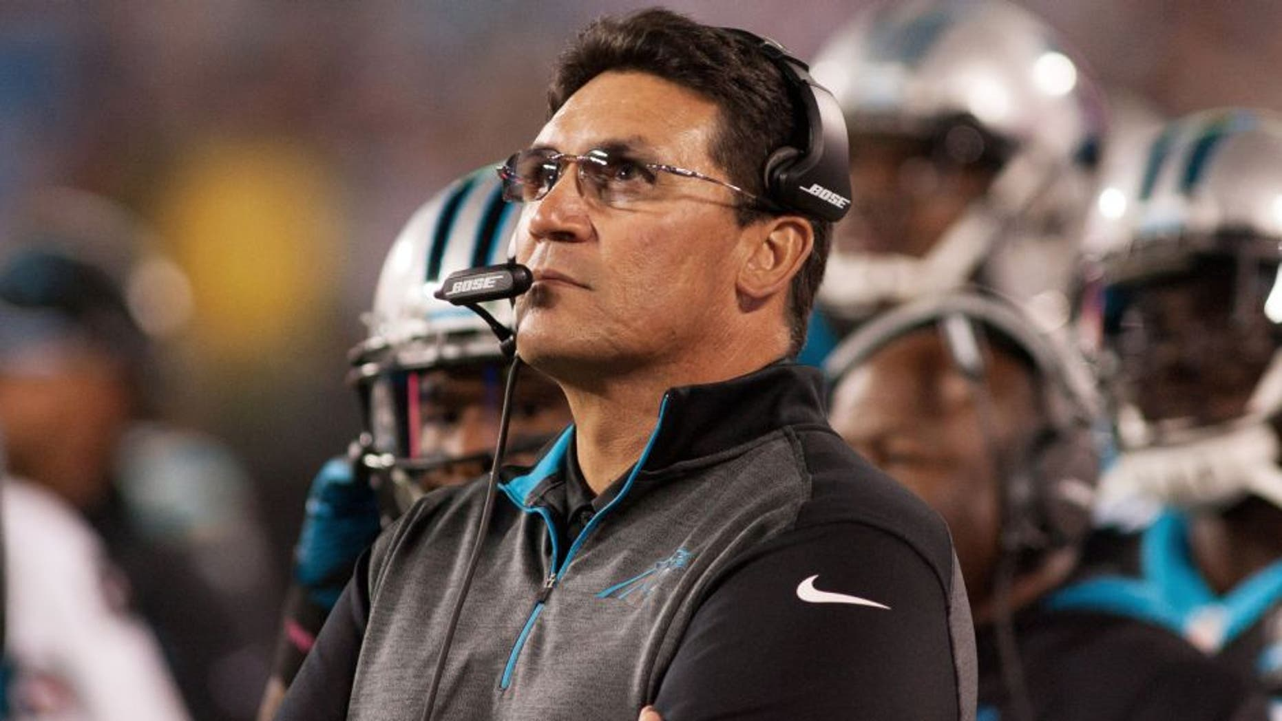 Oct 30, 2014; Charlotte, NC, USA; Carolina Panthers head coach Ron Rivera looks on during the second quarter against the New Orleans Saints at Bank of America Stadium. Mandatory Credit: Jeremy Brevard-USA TODAY Sports