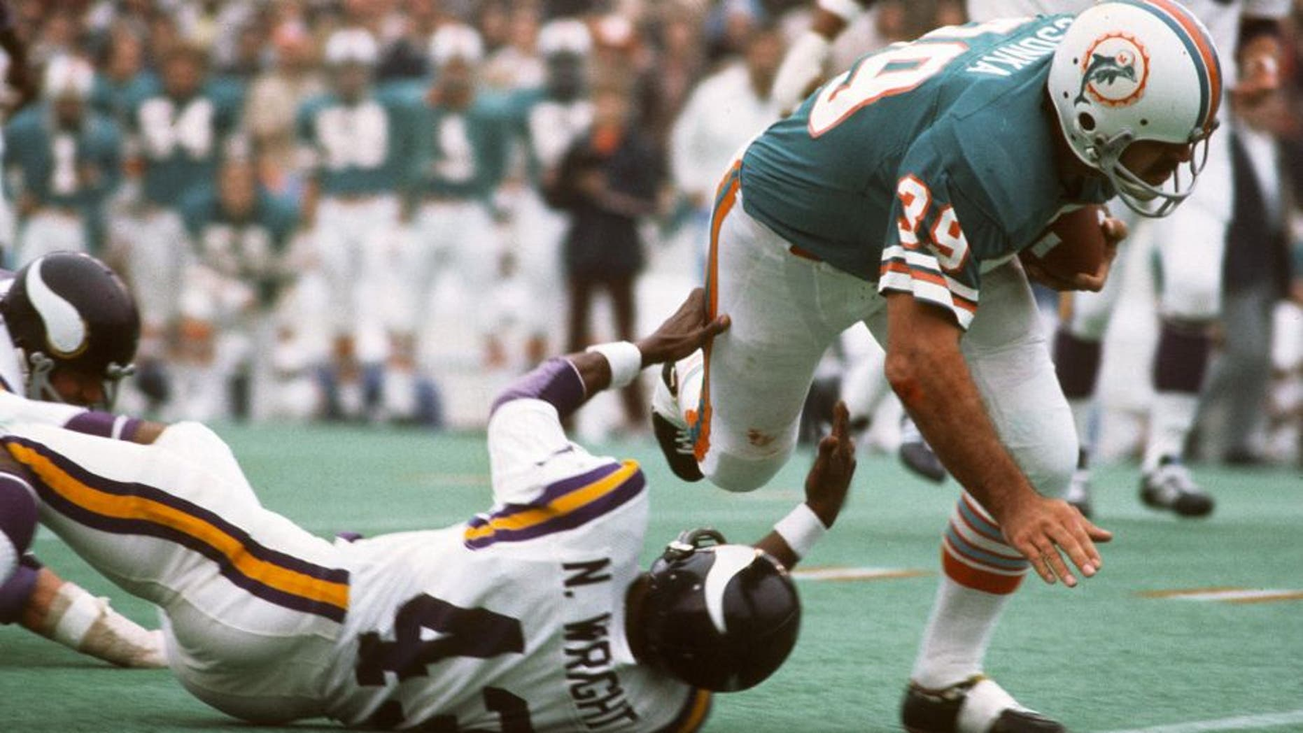 HOUSTON, TX - JANUARY 13: Larry Csonka #39 of the Miami Dolphins runs through the tackle of Nate Wright #43 of the Minnesota Vikings during Super Bowl VIII at Rice Stadium January 13, 1974 in Houston, Texas. The Dolphins won the Super Bowl 24-7. (Photo by Focus on Sport/Getty Images)
