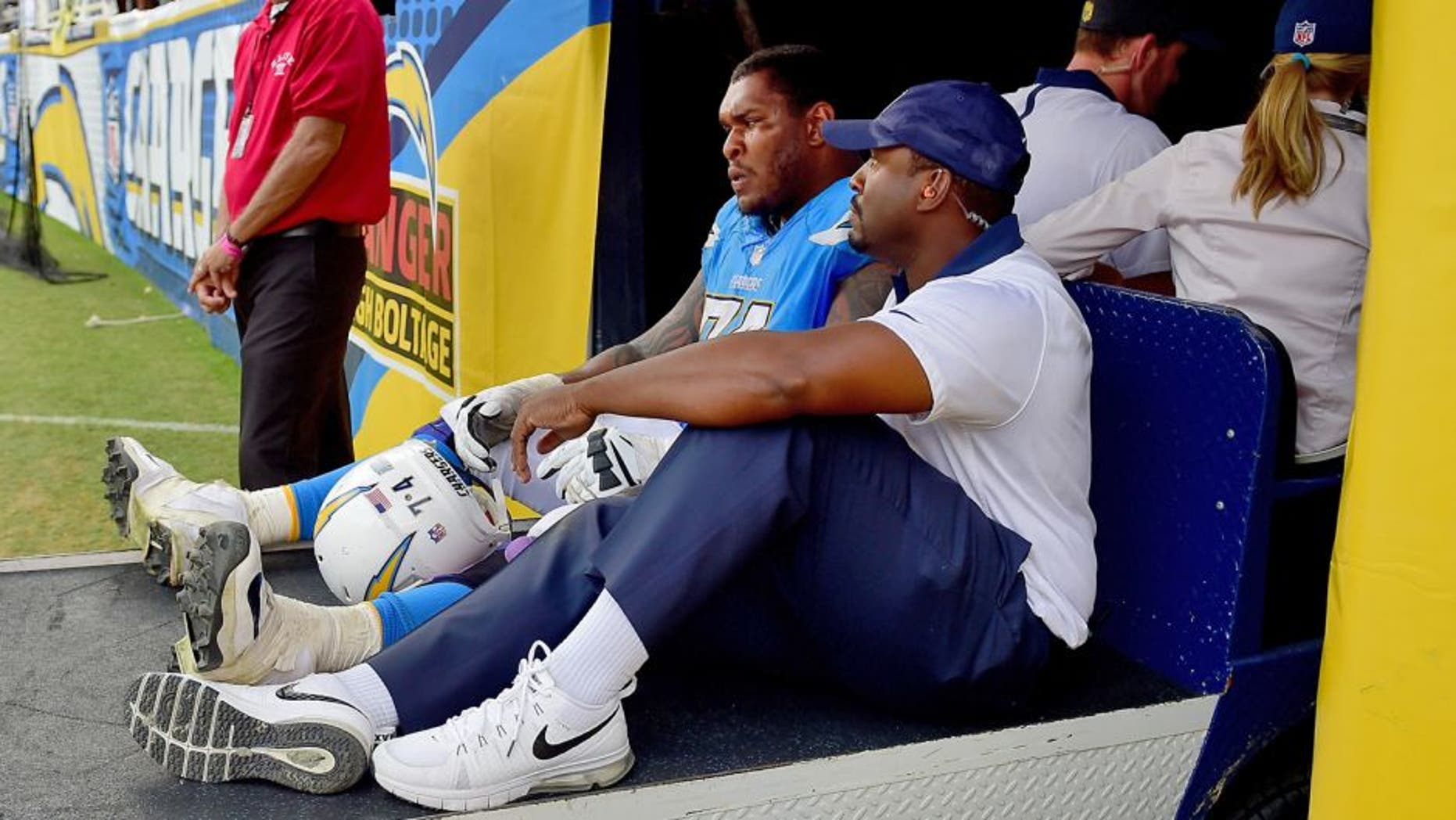 SAN DIEGO, CA - OCTOBER 25: Orlando Franklin #74 of the San Diego Chargers leaves the game aginst the Oakland Raiders at Qualcomm Stadium on October 25, 2015 in San Diego, California. (Photo by Harry How/Getty Images)