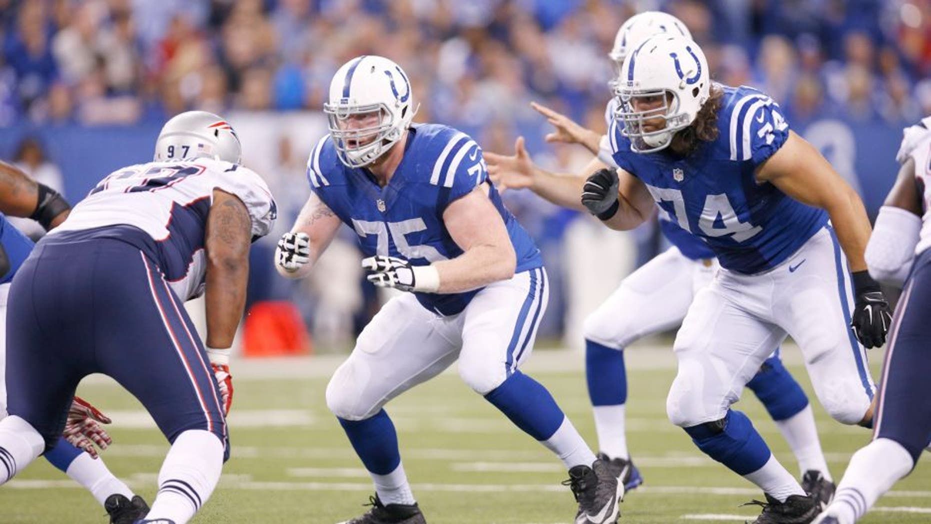 INDIANAPOLIS, IN - OCTOBER 18: Jack Mewhort #75 of the Indianapolis Colts in action during a game against the New England Patriots at Lucas Oil Stadium on October 18, 2015 in Indianapolis, Indiana. The Patriots defeated the Colts 34-27. (Photo by Joe Robbins/Getty Images)