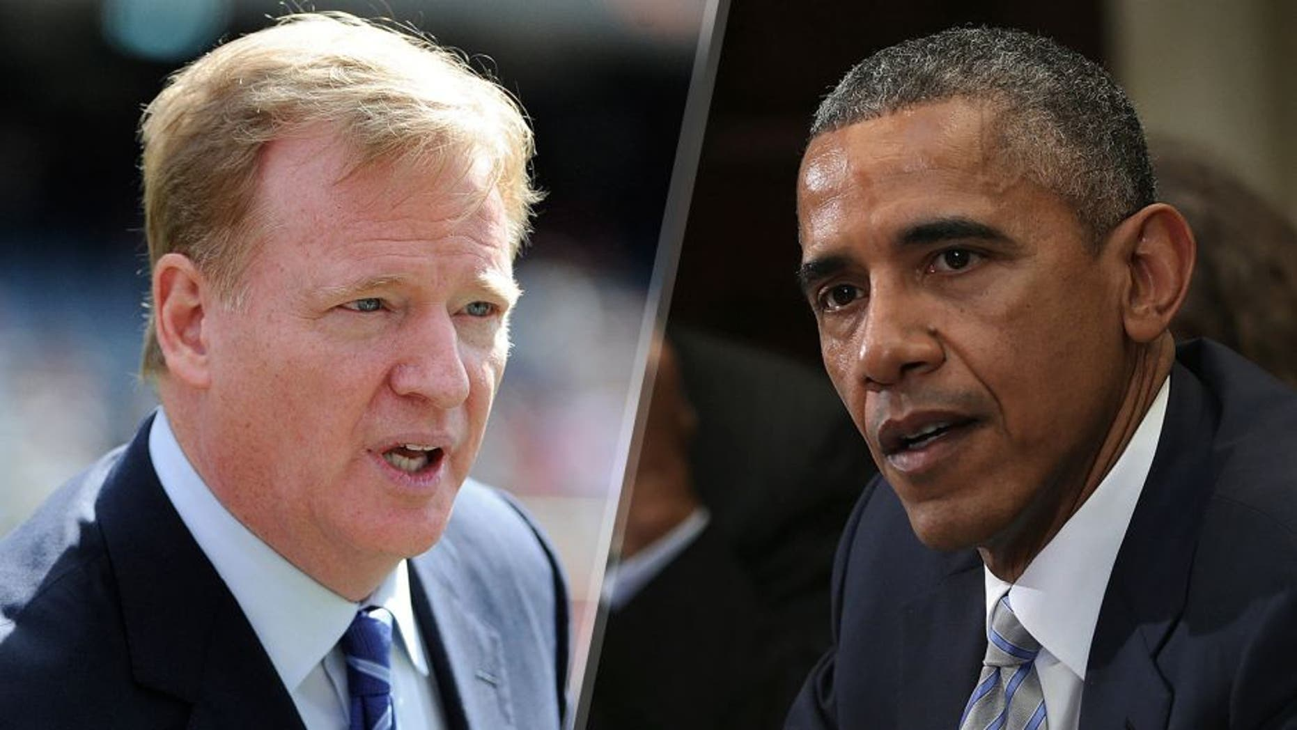 NFL Commissioner Roger Goodell on the field before the game between the Chicago Bears and the Green Bay Packers on September 13, 2015 at Soldier Field in Chicago, Illinois. (Photo by David Banks/Getty Images) U.S. President Barack Obama speaks as White House senior adviser Valerie Jarrett (L) and Philadelphia Mayor Michael Nutter (2nd L) listen during a Roosevelt Room event at the White House March 25, 2015 in Washington, DC. President Obama met with local elected officials and small business exporters on trade.. (Photo by Alex Wong/Getty Images)