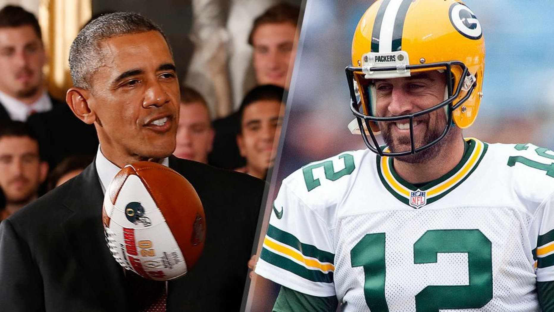 United States president Barack Obama tosses a national championship game ball gift during a ceremony honoring the 2014 NCAA football national champion Ohio State Buckeyes in the East Room at the White House. Mandatory Credit: Geoff Burke-USA TODAY Sports Green Bay Packers quarterback Aaron Rodgers (12) smiles before the game against the Carolina Panthers at Bank of America Stadium. Mandatory Credit: Jeremy Brevard-USA TODAY