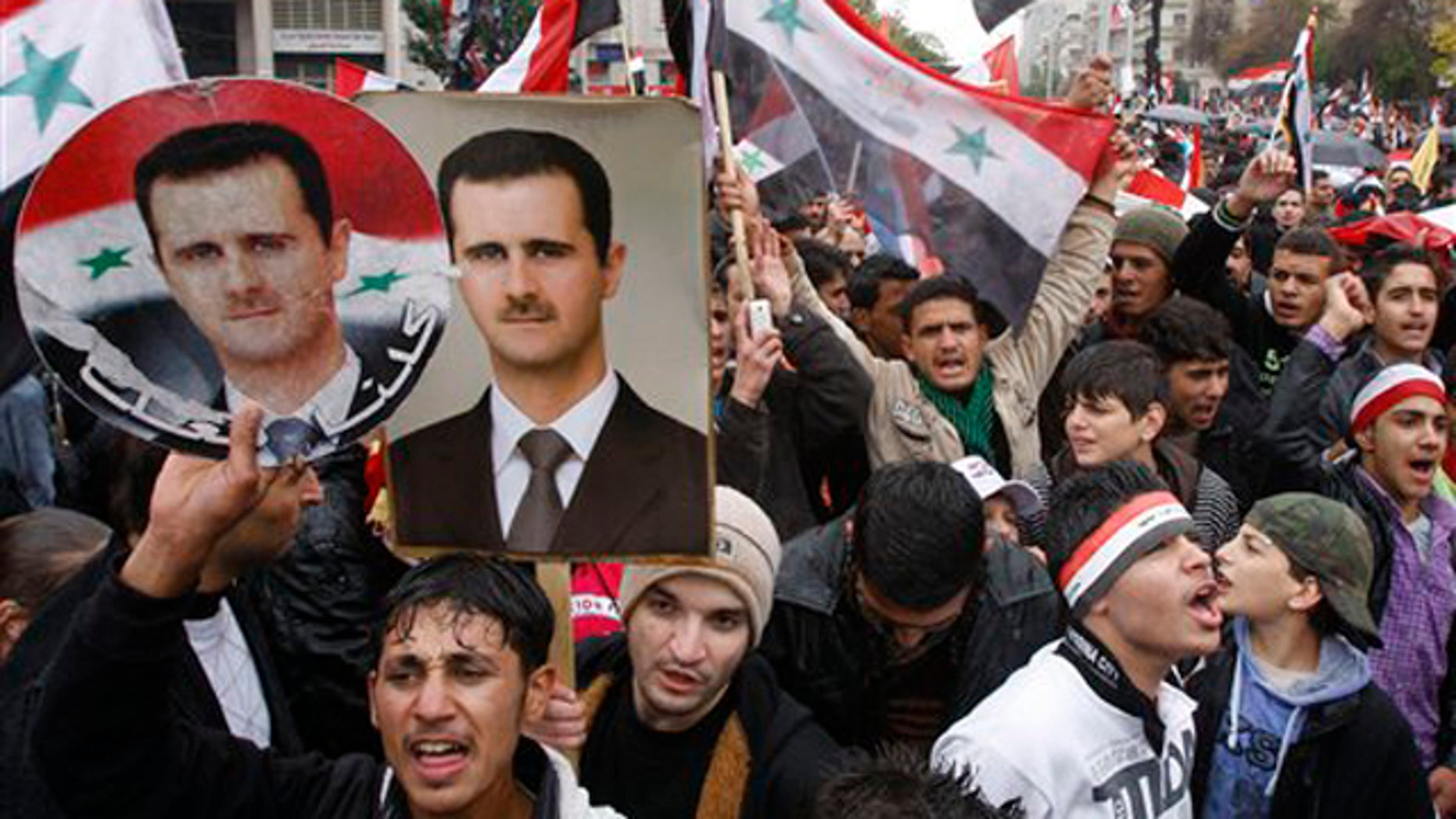 November 16, 2011: Pro-Syrian regime protesters, shout pro-Syrian President Bashar Assad slogans during a demonstration in Damascus, Syria.