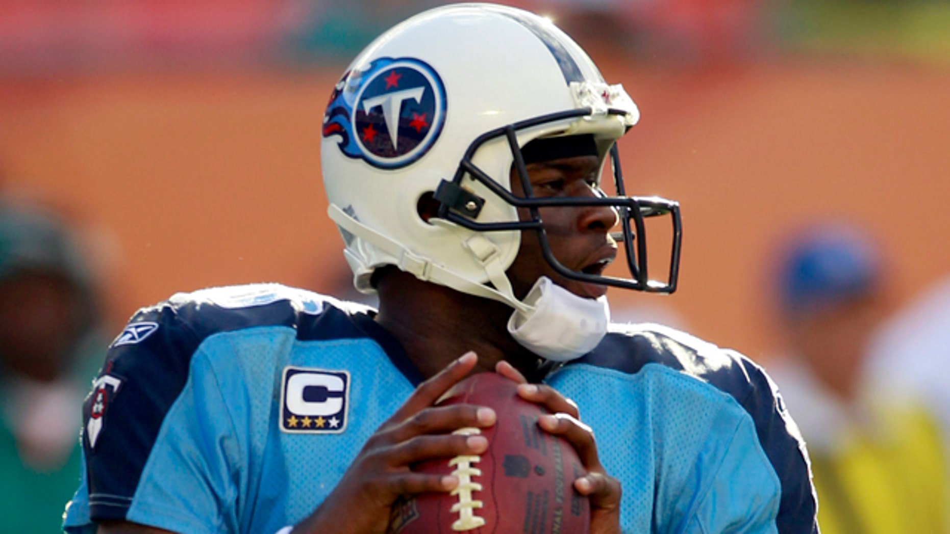 Nov. 14: Tennessee Titans quarterback Vince Young prepares to pass against the Miami Dolphins in the fourth quarter of an NFL football game in Miami.