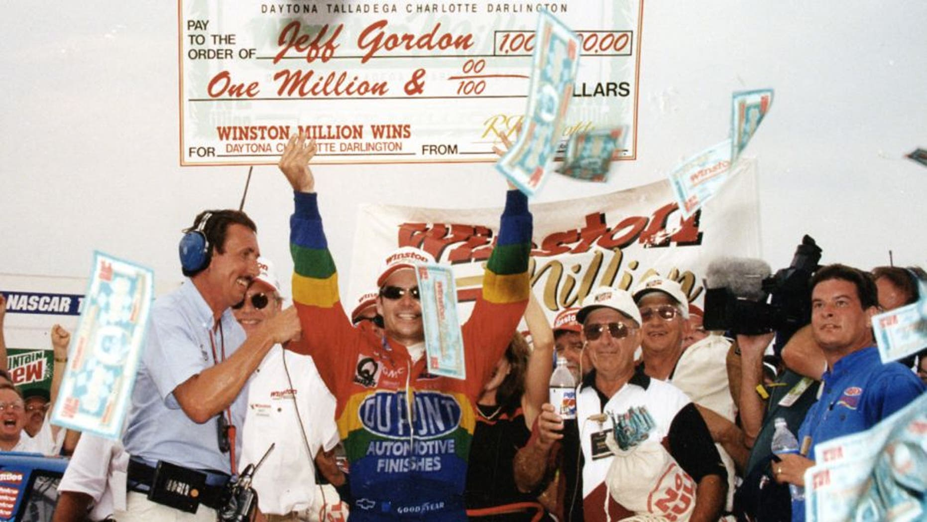 DARLINGTON, SC - AUGUST 31, 1997: Jeff Gordon wins the Winston Million for wins at Daytona, Charlotte, and Darlington in the NASCAR Cup Series. (Photo by ISC Archives via Getty Images)