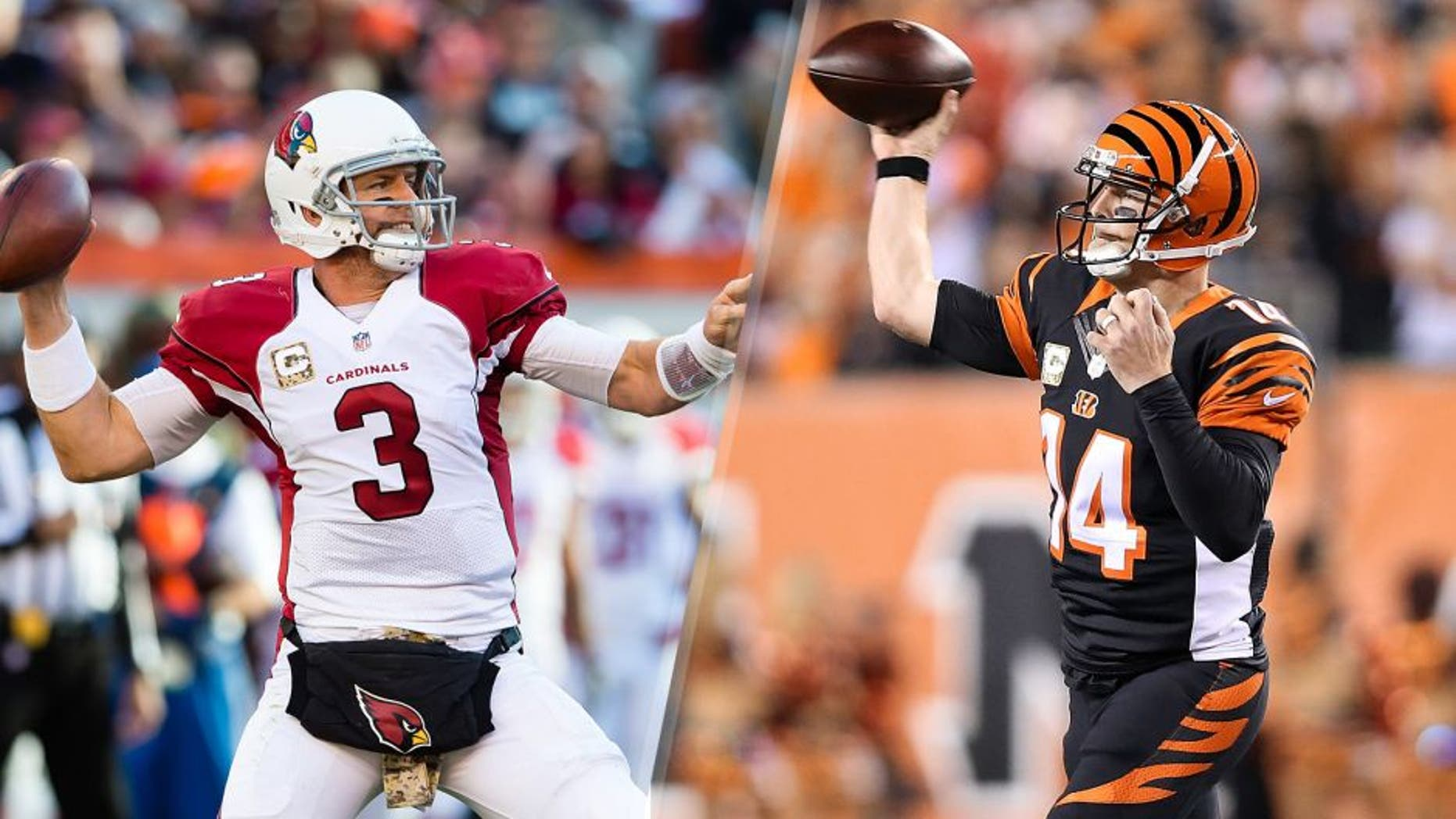 Quarterback Carson Palmer #3 of the Arizona Cardinals passes during the second half against the Cleveland Browns at FirstEnergy Stadium on November 1, 2015 in Cleveland, Ohio. The Cardinals defeated the Browns 34-20. (Photo by Jason Miller/Getty Images) Andy Dalton #14 of the Cincinnati Bengals throws a pass during the first quarter of the game against the Cleveland Browns at Paul Brown Stadium on November 5, 2015 in Cincinnati, Ohio. (Photo by Andy Lyons/Getty Images)