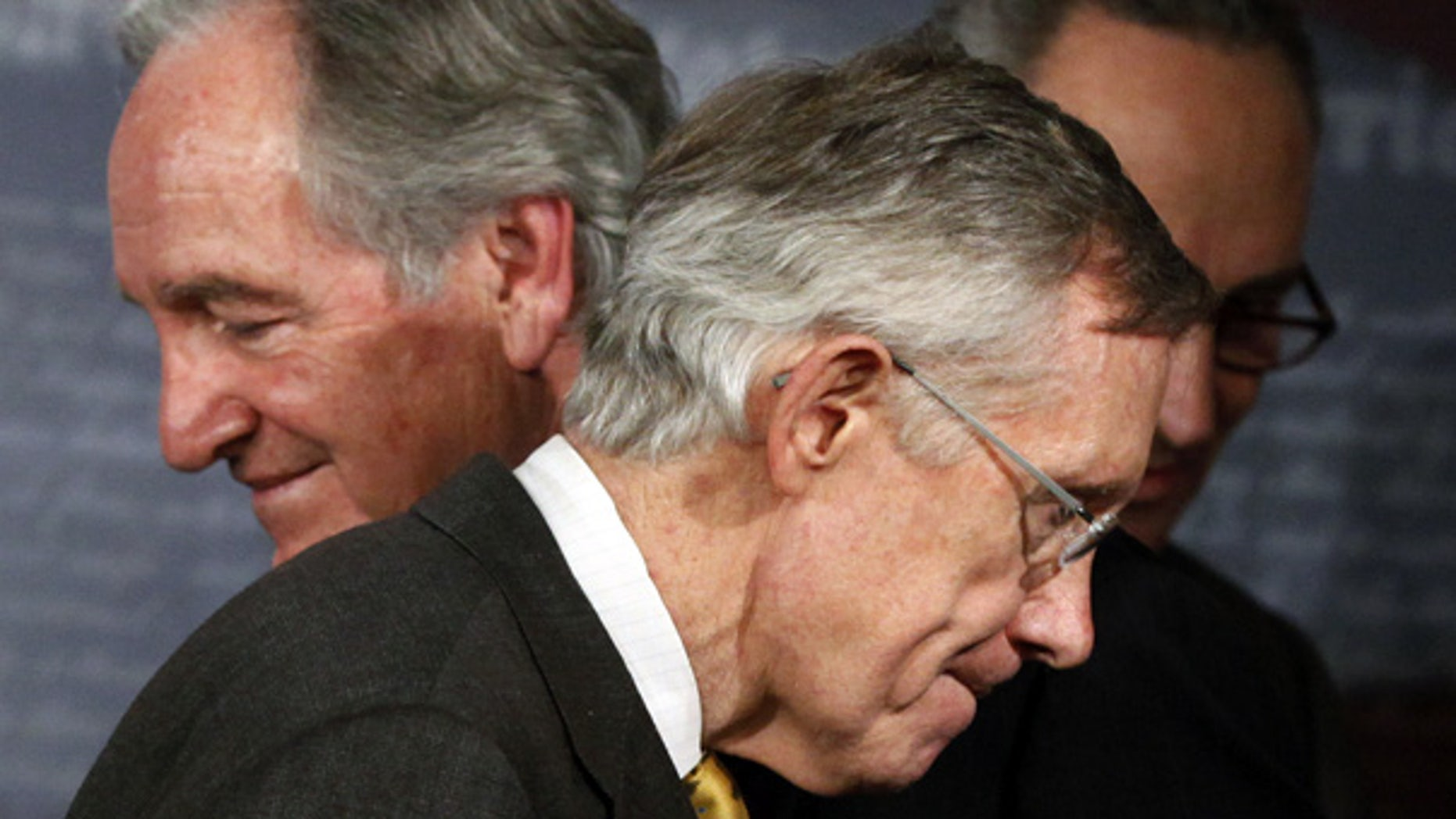 Nov. 18: Senate Majority Leader Sen. Harry Reid, D-Nev., with Sens. Tom Harkin, D-Iowa, left, and Charles Schumer, D-N.Y. at a news conference on Capitol Hill. (AP)