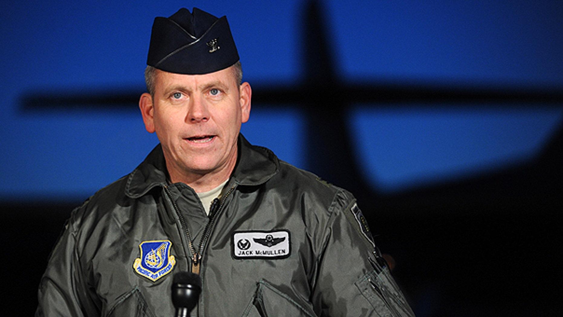 Nov. 19: Col. Jack McMullen, 3rd Wing commander, announces the death of pilot Capt. Jeff Haney based on evidence at the F-22 Raptor crash site.