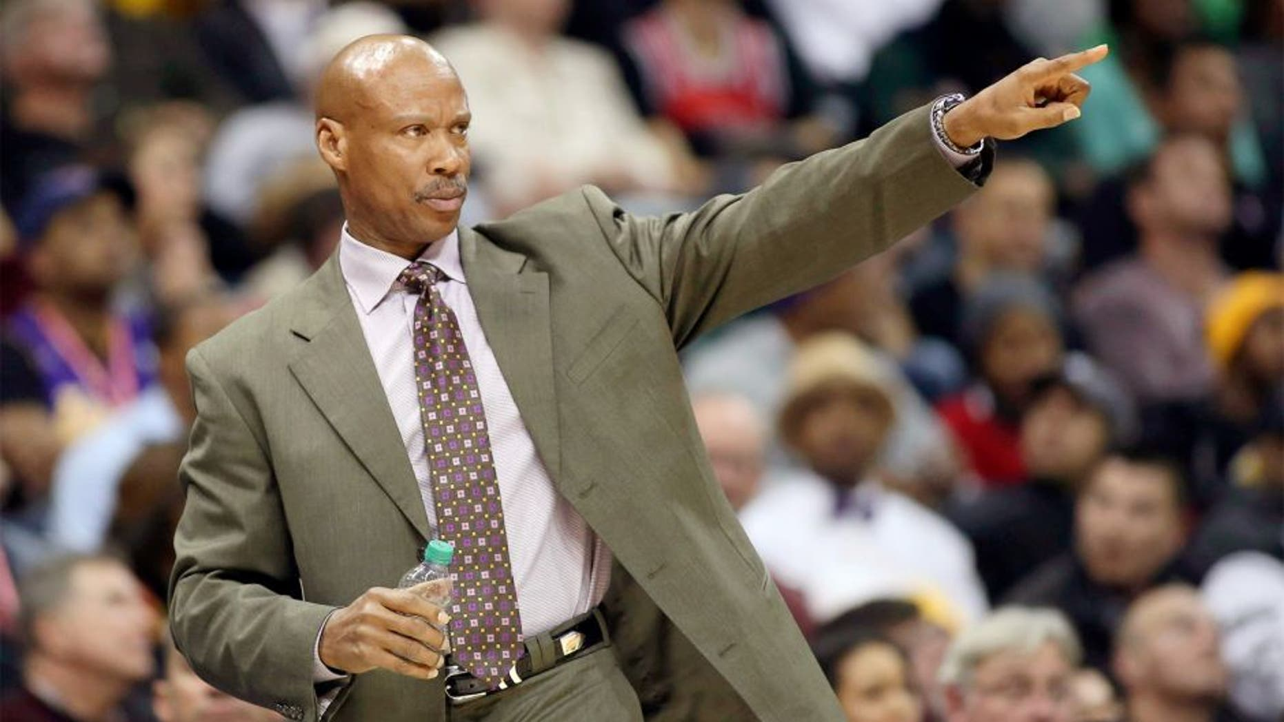 Nov 18, 2014; Atlanta, GA, USA; Los Angeles Lakers head coach Byron Scott is shown on the sideline in the fourth quarter of their game against the Atlanta Hawks at Philips Arena. The Lakers won 114-109. Mandatory Credit: Jason Getz-USA TODAY Sports