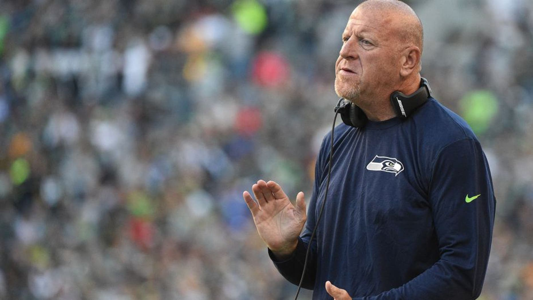 Sep 4, 2014; Seattle, WA, USA; Seattle Seahawks offensive line & assistant head coach Tom Cable during the second quarter against the Green Bay Packers at CenturyLink Field. The Seahawks defeated the Packers 36-16. Mandatory Credit: Kyle Terada-USA TODAY Sports