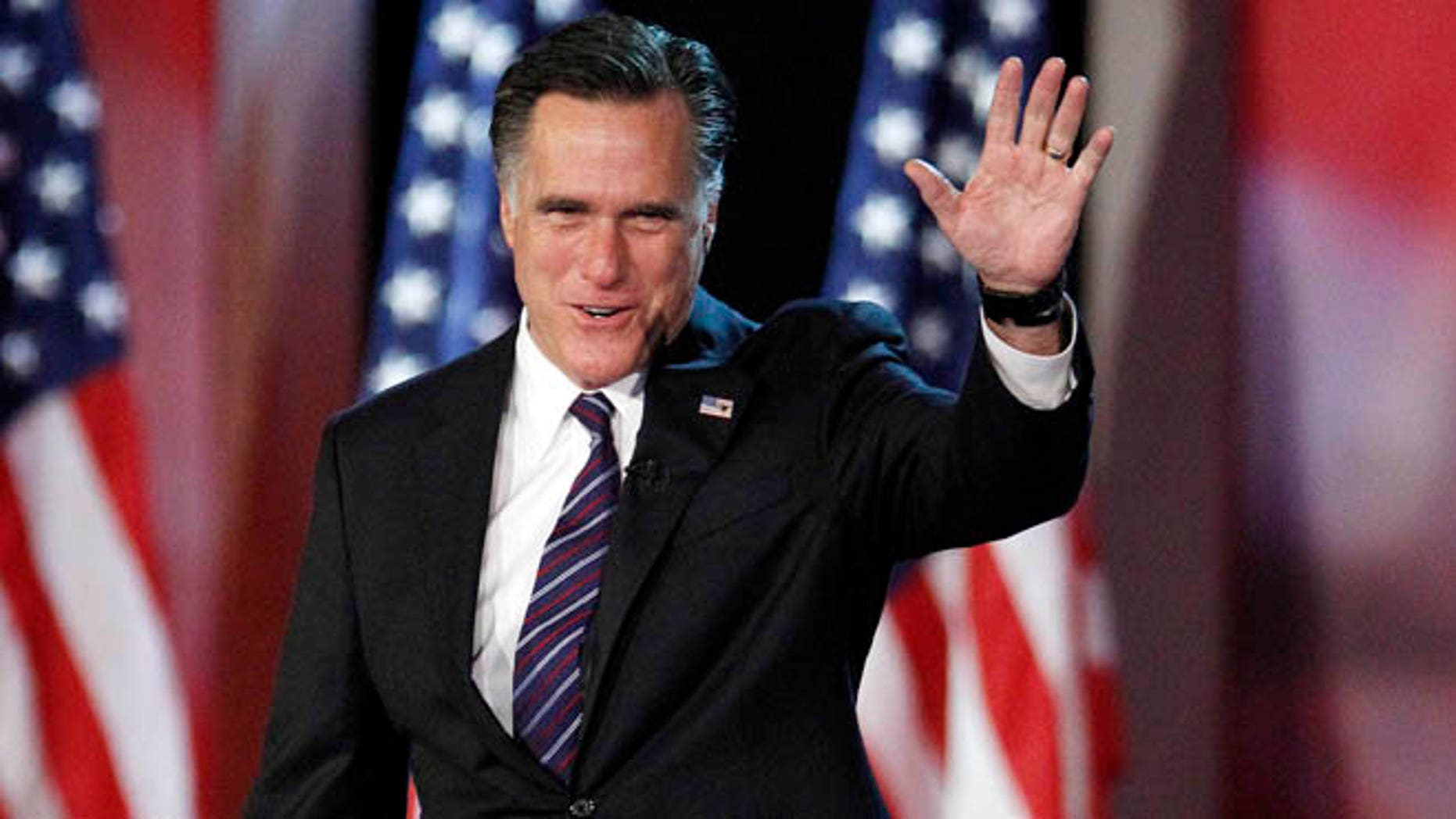 Nov. 7, 2012: Then-Republican presidential candidate and former Massachusetts Gov. Mitt Romney taking the stage to concede his quest for president at the Boston Convention Center in Boston.