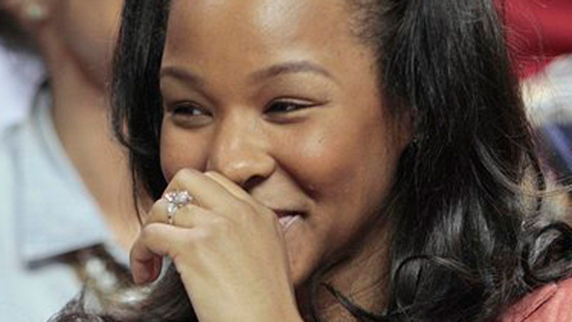 January 1, 2012: Savannah Brinson shows off her engagement ring from Miami Heat's LeBron James, her fiance, after an NBA basketball game between the Miami Heat and Charlotte Bobcats in Miami.