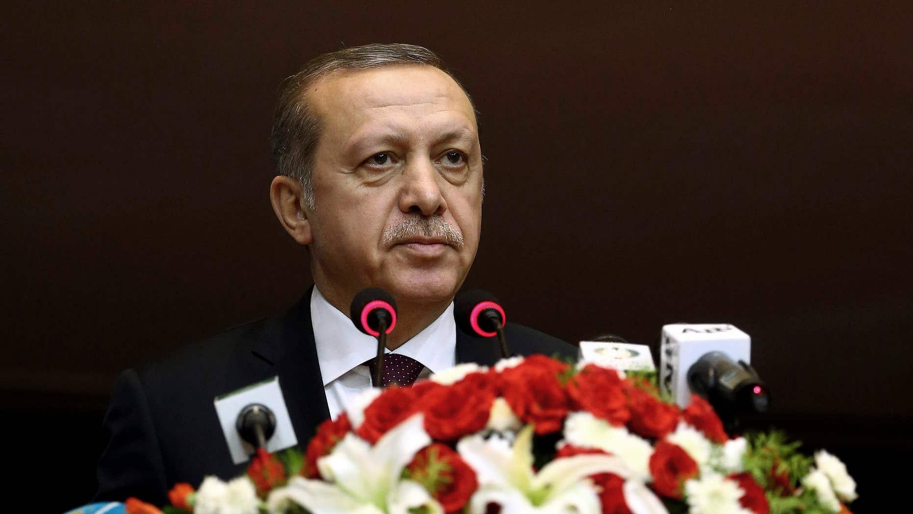 Nov. 17, 2016: Turkey's President Recep Tayyip Erdogan addresses the parliament in Islamabad, Pakistan.