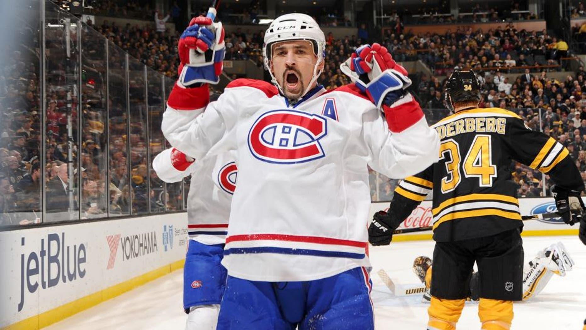 BOSTON, MA - NOVEMBER 22 : Tomas Plekanec #14 of the Montreal Canadiens celebrates a goal against the Boston Bruins at the TD Garden on November 22, 2014 in Boston, Massachusetts. (Photo by Steve Babineau/NHLI via Getty Images)
