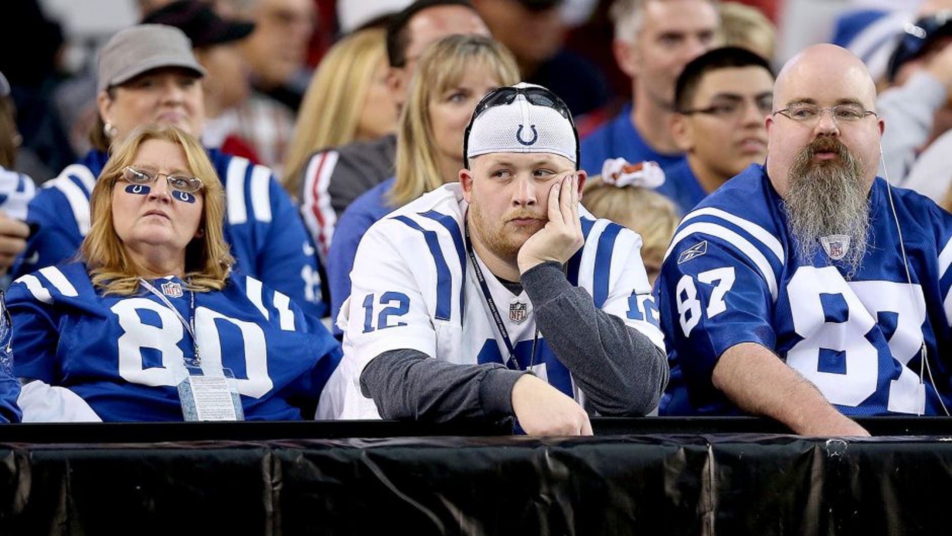 GLENDALE, AZ - NOVEMBER 24: Fans of the Indianapolis Colts react during the NFL game against the Arizona Cardinals at the University of Phoenix Stadium on November 24, 2013 in Glendale, Arizona. (Photo by Christian Petersen/Getty Images)
