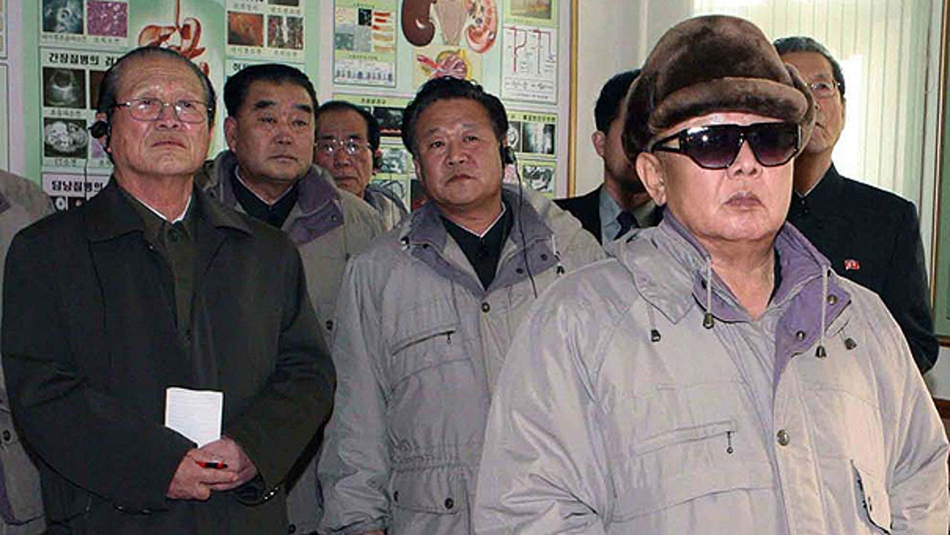 Nov. 24: In this undated photo by Korean Central News Agency via Korea News Service, North Korean leader Kim Jong Il visits a medical school in Pyongyang, North Korea.