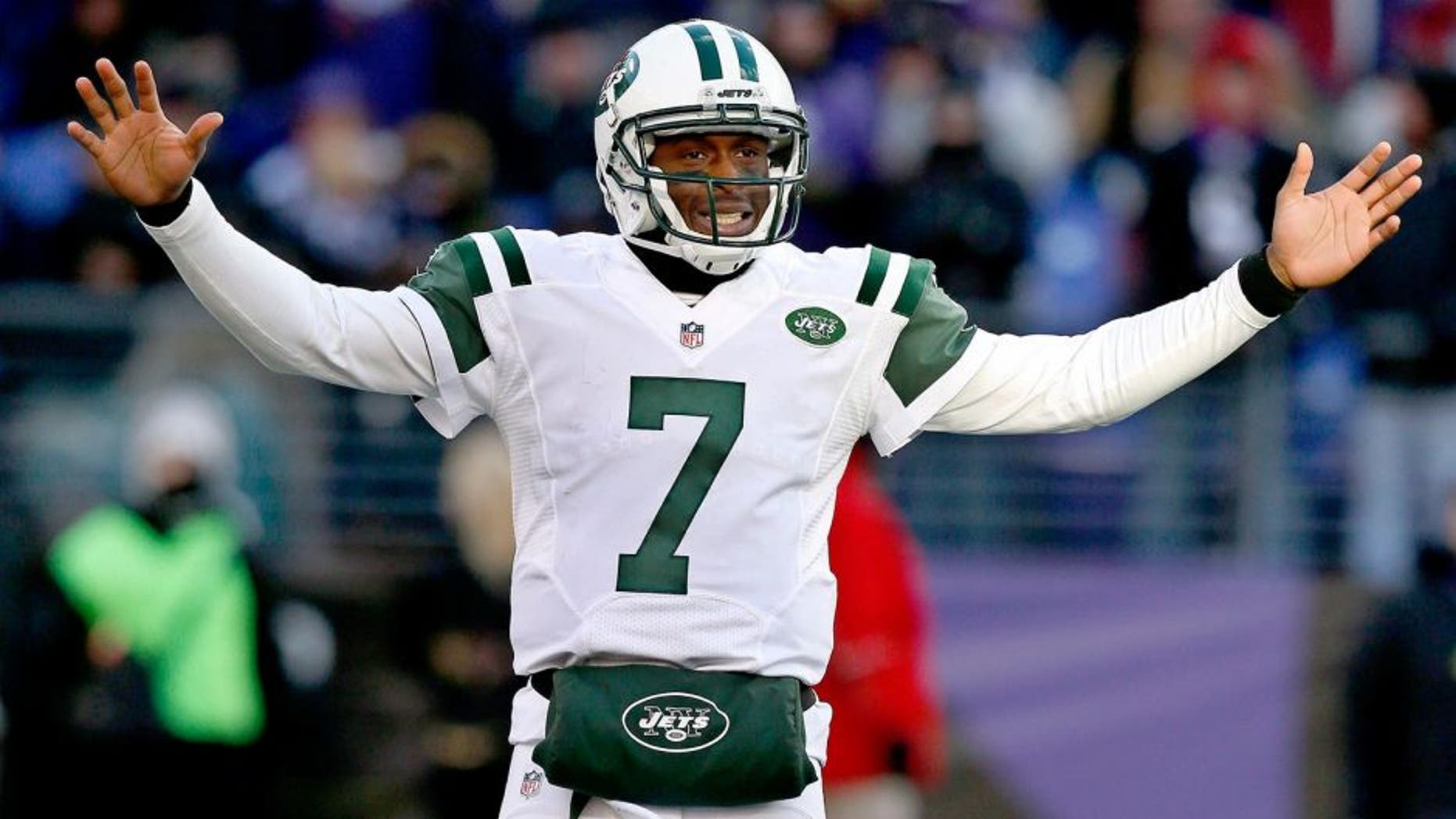 Nov 24, 2013; Baltimore, MD, USA; New York Jets quarterback Geno Smith (7) reacts in the fourth quarter against the Baltimore Ravens at M&T Bank Stadium. Mandatory Credit: Mitch Stringer-USA TODAY Sports