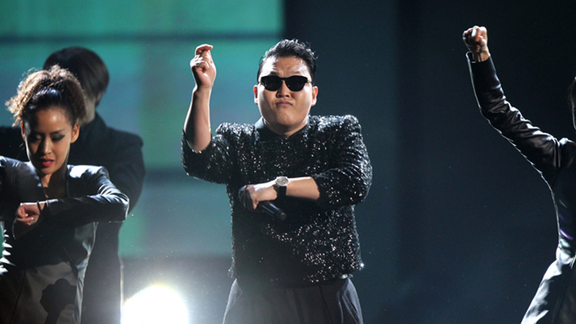 """PSY performs """"Gangnam Style"""" at the 40th Anniversary American Music Awards on Sunday, Nov. 18, 2012, in Los Angeles. (Photo by Matt Sayles/Invision/AP)"""