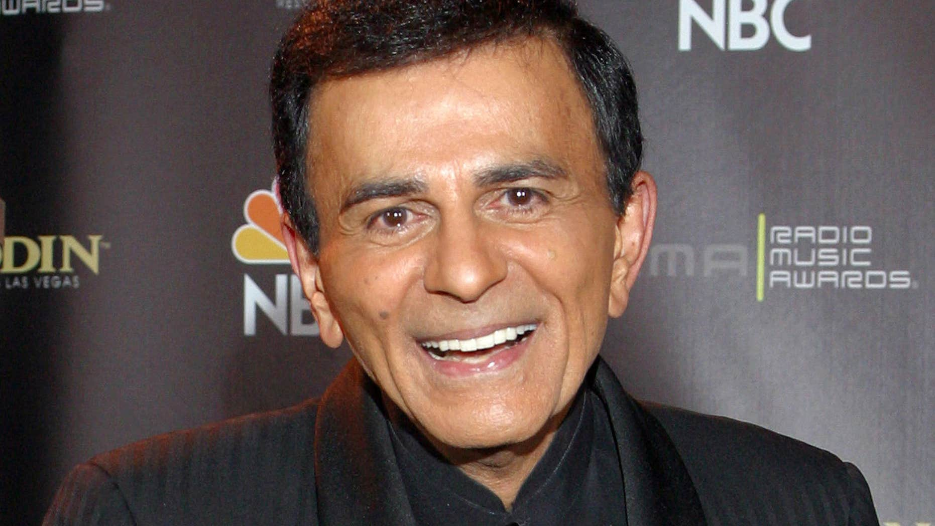 FILE - In this Oct. 27, 2003, file photo, Casey Kasem poses for photographers after receiving the Radio Icon award during The 2003 Radio Music Awards at the Aladdin Resort and Casino in Las Vegas.