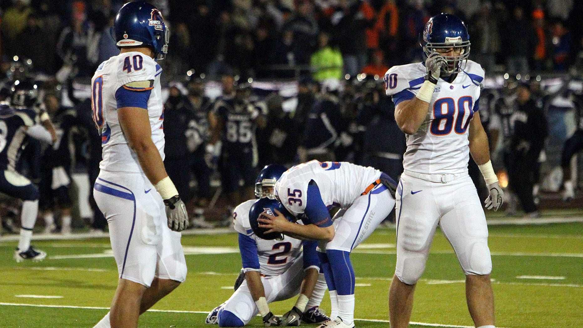 Nov. 27: Boise State Broncos kicker Kyle Brotzman reacts after missing a 29 yard field goal attempt during overtime of the NCAA college football game Friday night in Reno, Nev.