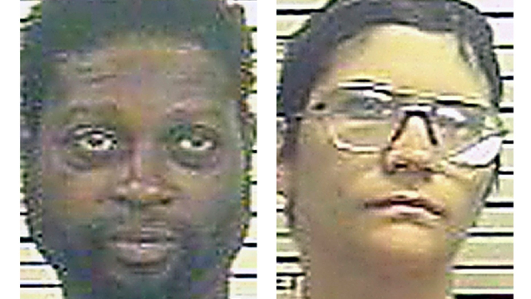 This undated two file photo combo provided by York County Prison via the York Dispatch shows Sinhue A. Johnson, left, and Louann E. Bowers.