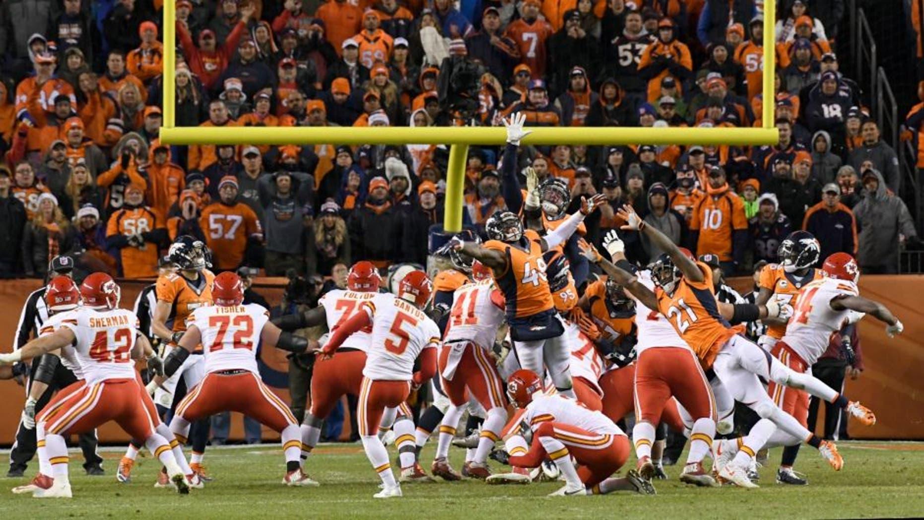 DENVER, CO - NOVEMBER 27: Kansas City Chiefs kicker Cairo Santos (5) kicks the winning field goal in overtime against the Denver Broncos November 27, 2016 at Sports Authority Field at Mile High Stadium. Kansas City Chiefs defeated the Denver Broncos 30-27 for the overtime win. (Photo By John Leyba/The Denver Post via Getty Images)