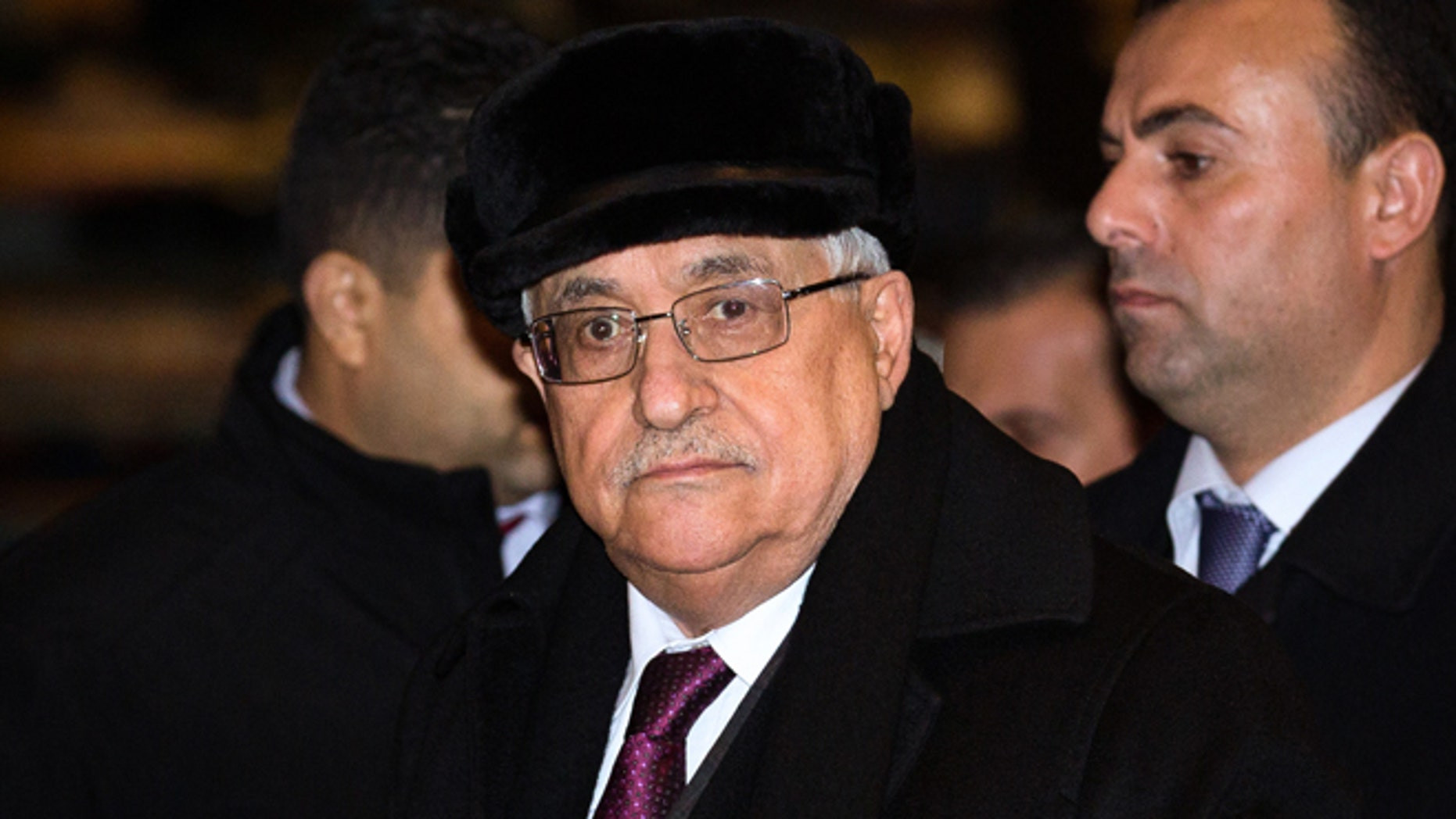 Nov. 27, 2012: Palestinian President Mahmoud Abbas arrives at the United Nations Plaza Hotel in New York.